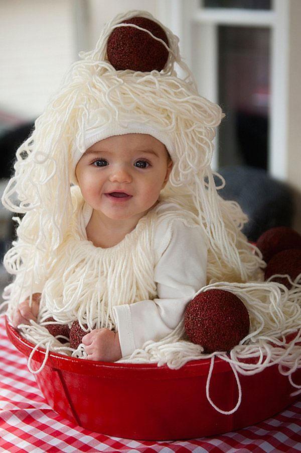 Costume per neonato fai da te da spaghetti e polpette