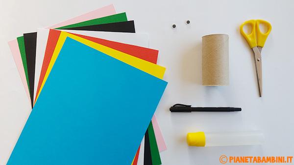 Occorrente per la creazione di Arlecchino con rotolo di carta