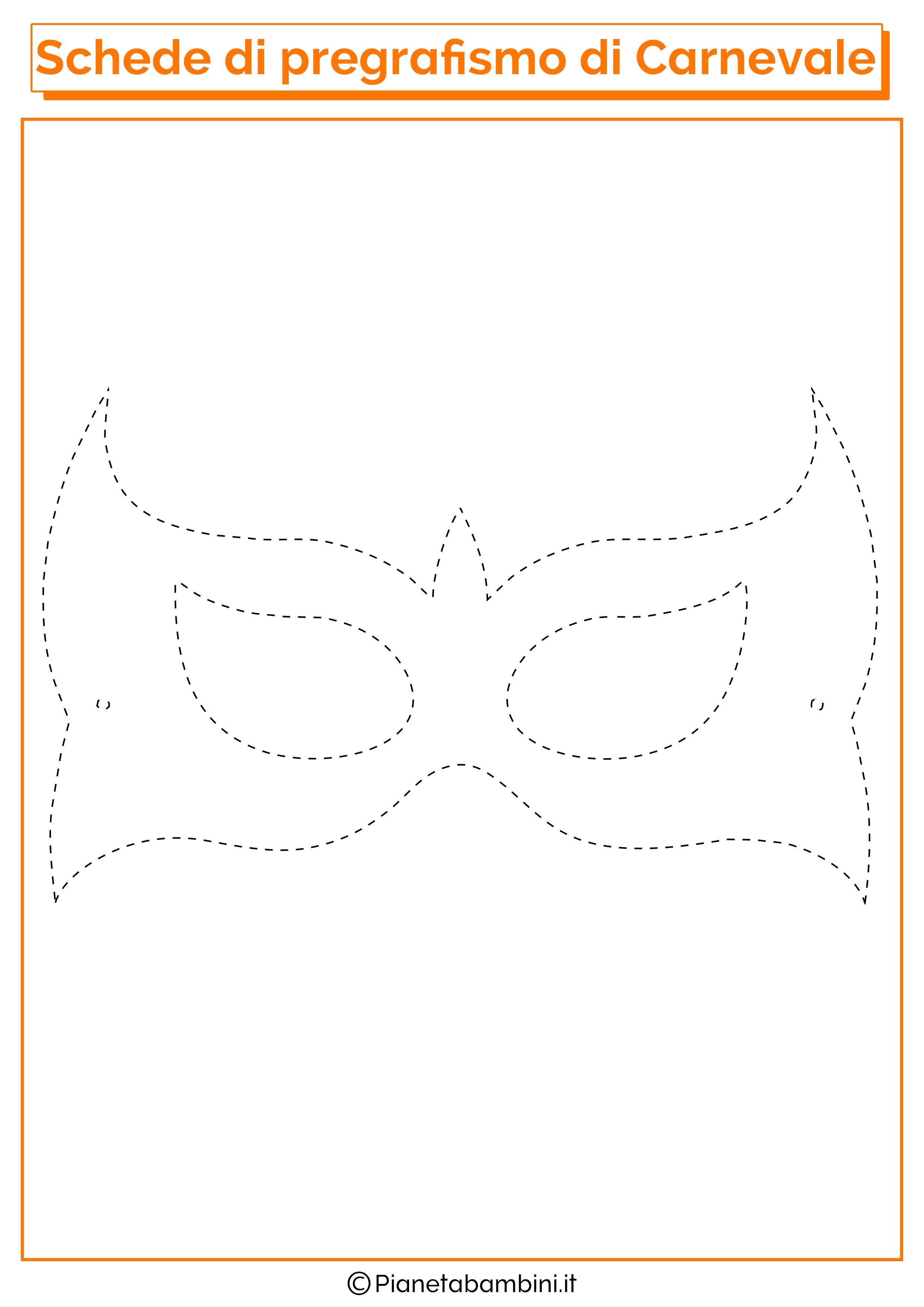 Scheda di pregrafismo sulla maschera