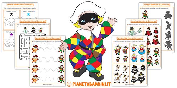 Schede didattiche di Carnevale da stampare gratis per bambini