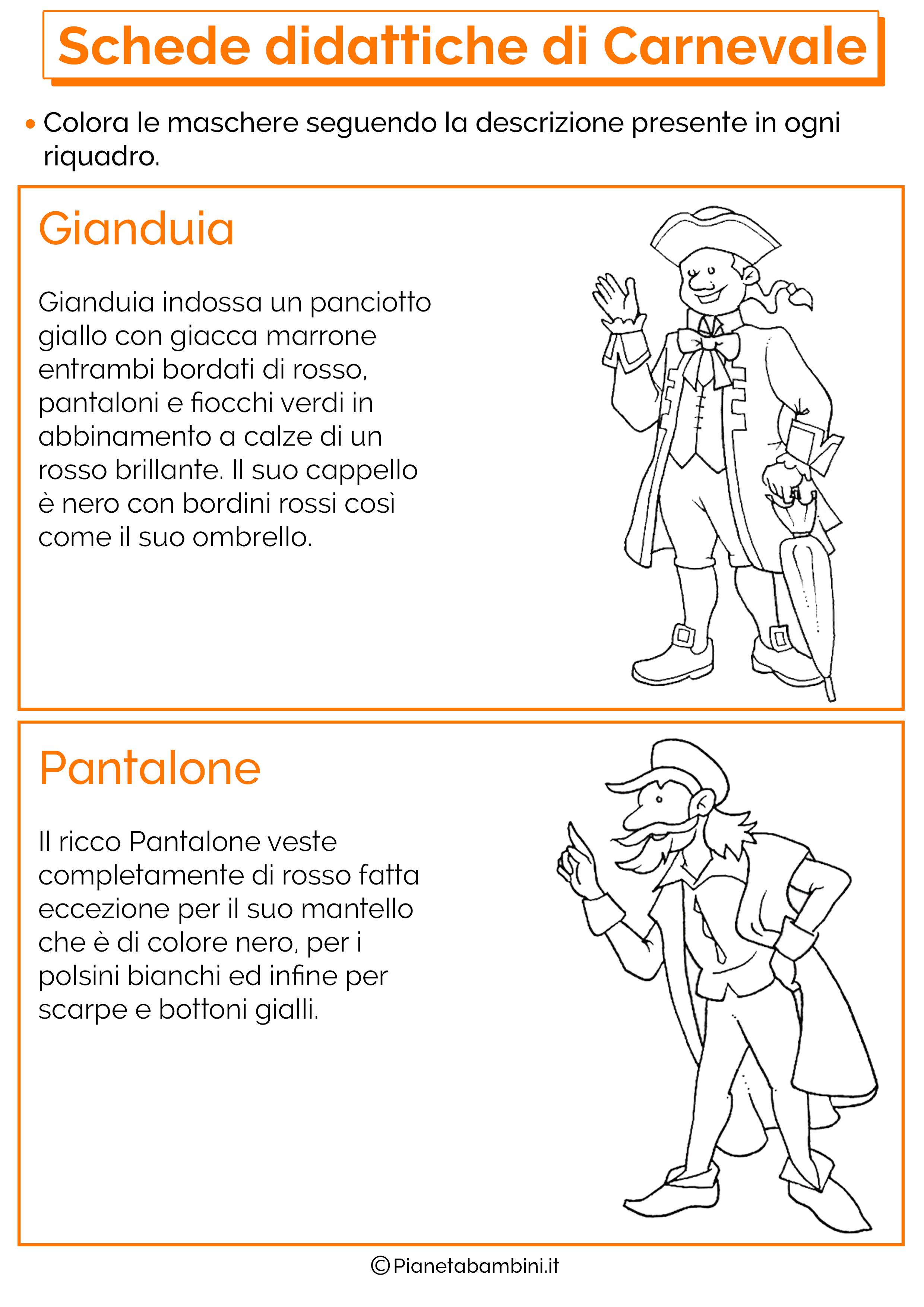Schede Didattiche Di Carnevale Per La Scuola Primaria
