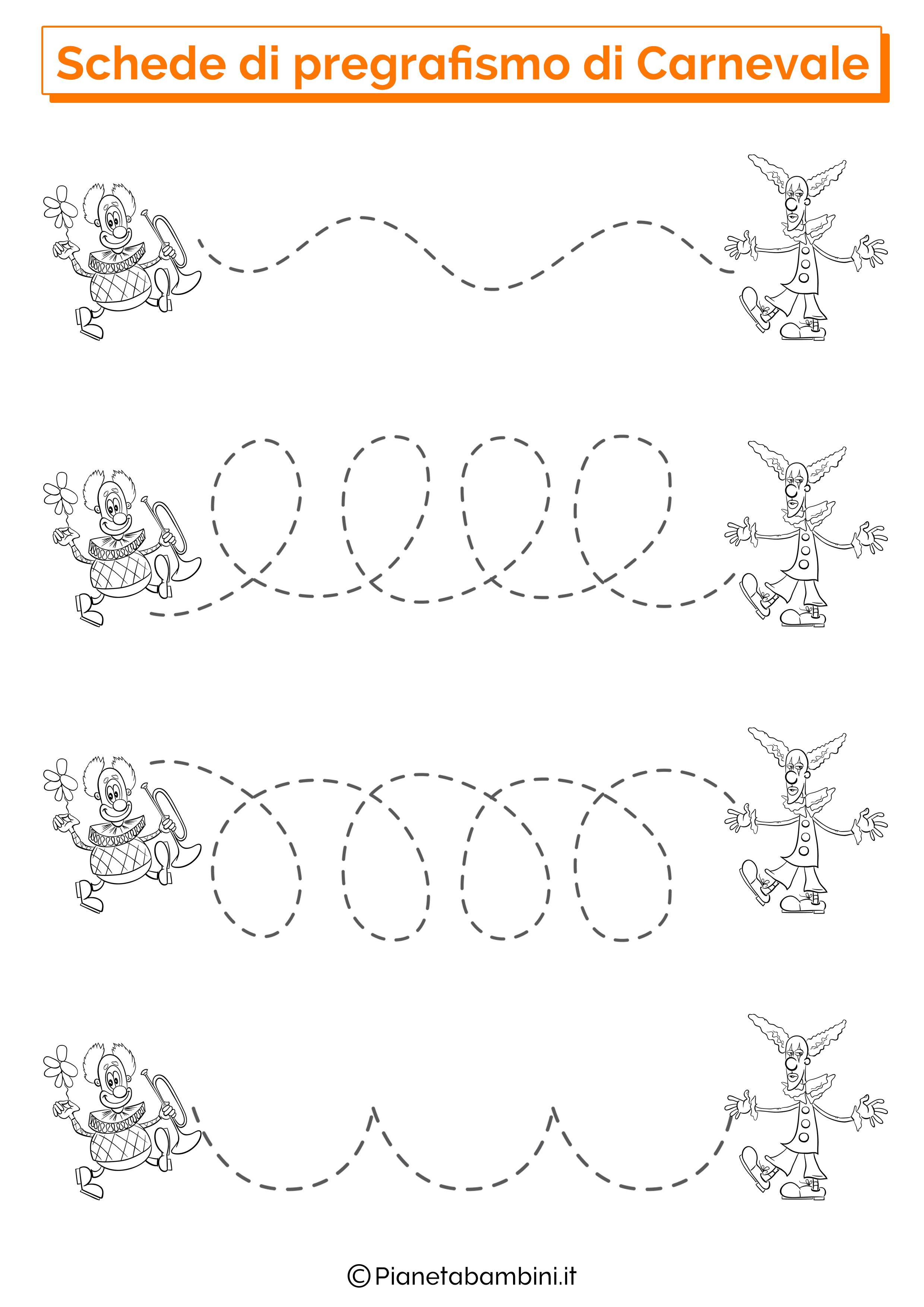 Schede di Pregrafismo di Carnevale sulle linee 2
