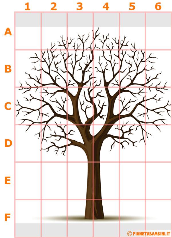 Schema per la costruzione dell'albero invernale murale spoglio