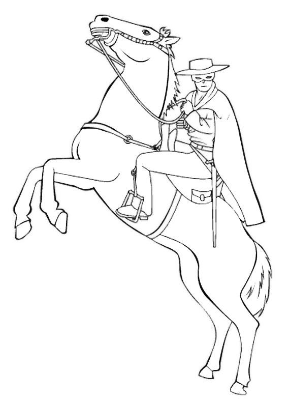 12 disegni di zorro da colorare for Disegni di cavalli da stampare e colorare