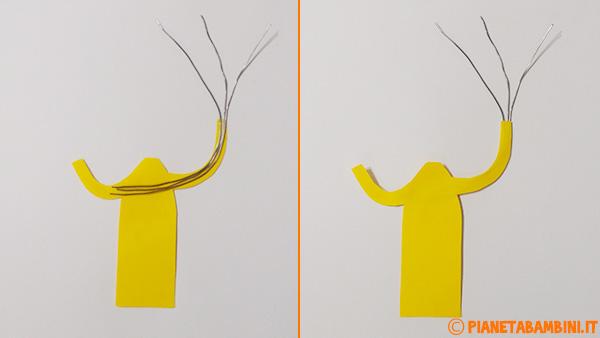 Applicazione del filo di ferro nel pagliaccio di cartoncino