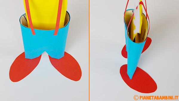 Creazione di bretelle e scarpe per il pagliaccio con palloncini e cartoncini