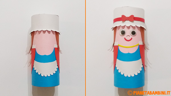 Aggiunta del cappello e creazione del viso per il lavoretto di Colombina con rotolo di carta
