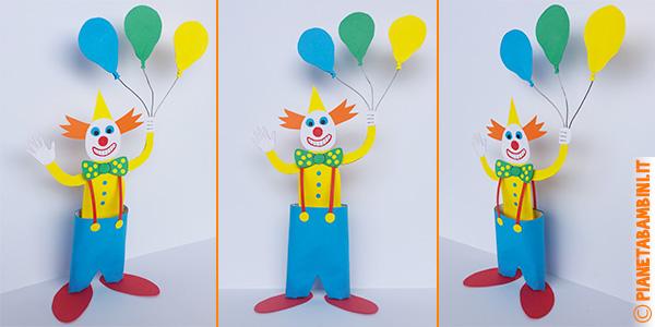Pagliacci con palloncini creato utilizzando cartoncini e fine rotolo di carta