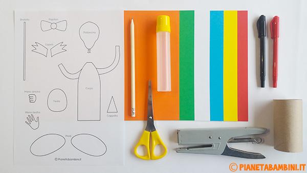 Occorrente per la creazione del pagliacci con palloncini di cartoncino