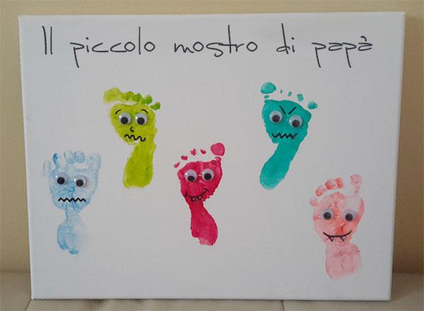 Mostri con impronte dei piedi creati per la festa dei papà come lavoretto