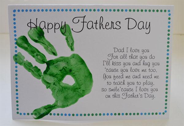Poesia per la festa del papà con impronta della mano