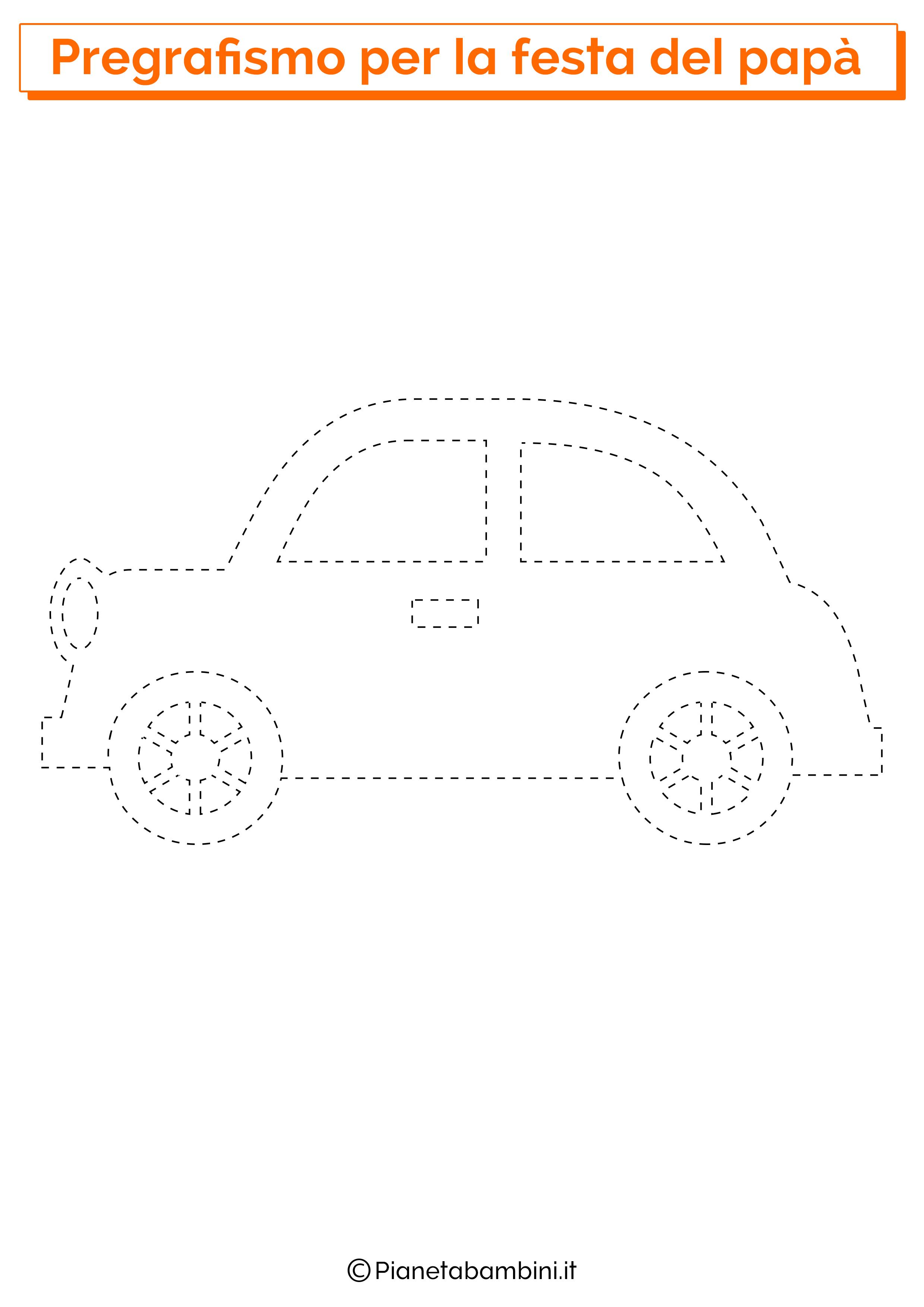 Scheda di pregrafismo con automobile per la festa del papà