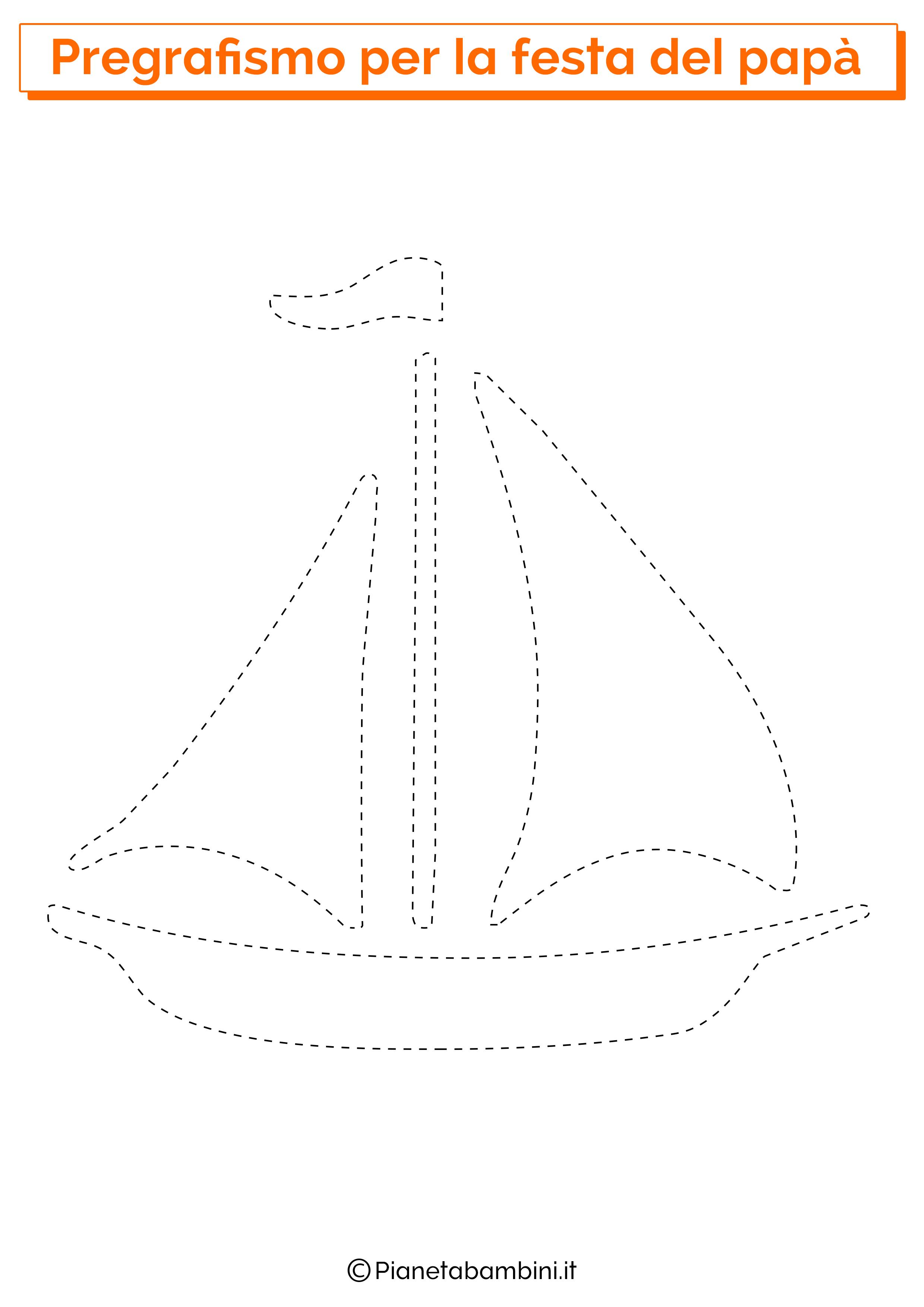 Scheda di pregrafismo con barca per la festa del papà