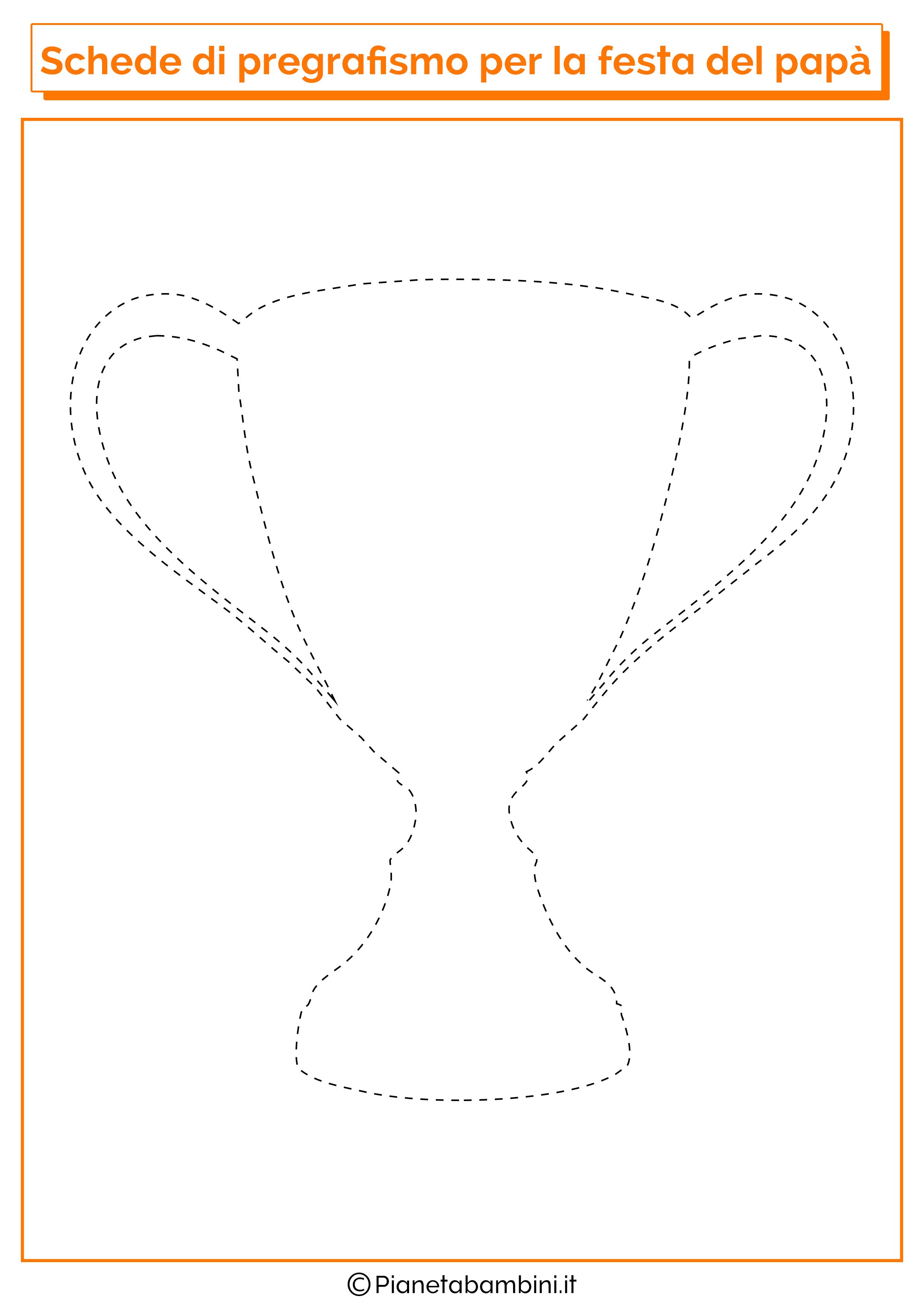 Scheda di pregrafismo sulla coppa per la festa del papà