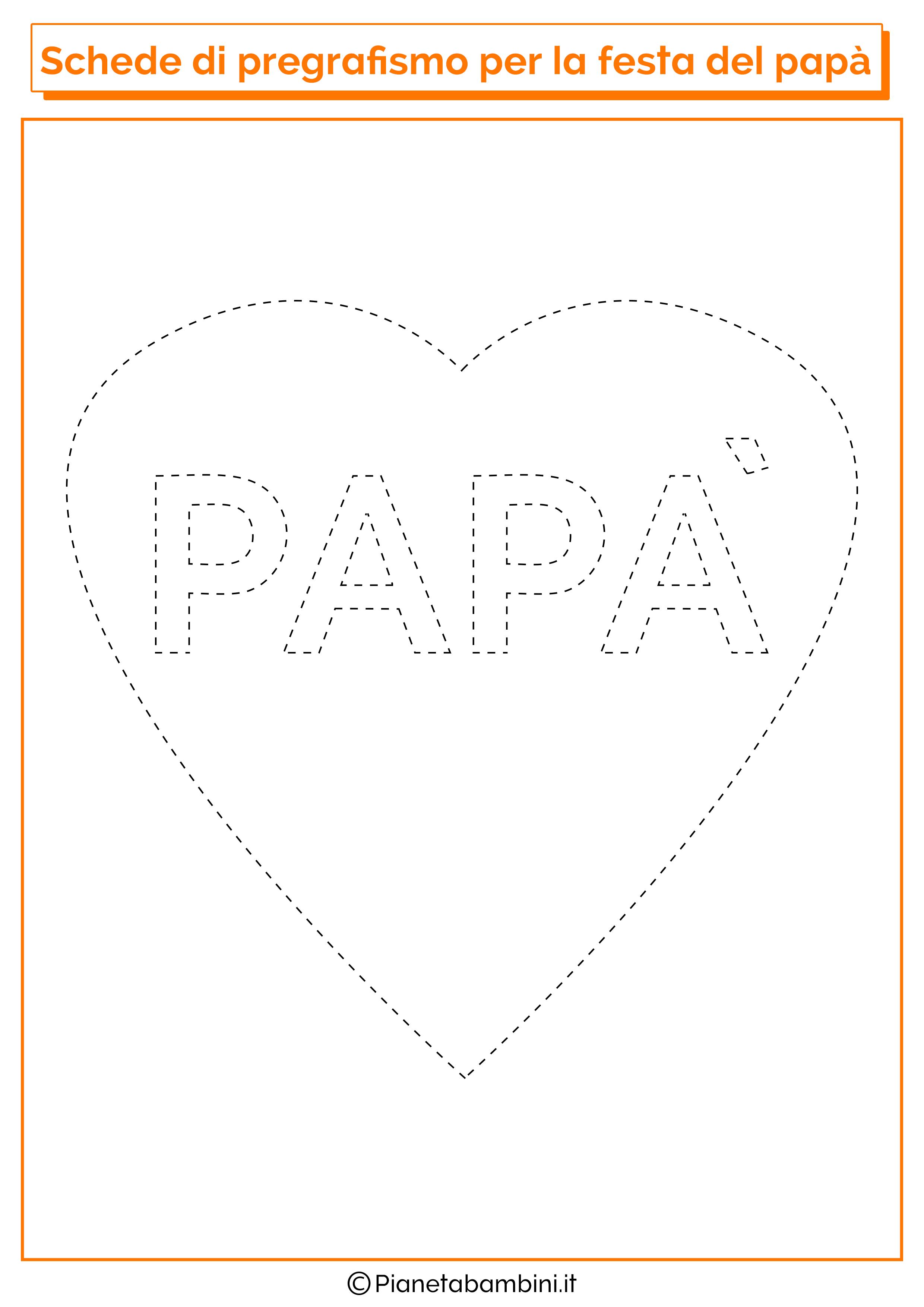 Scheda di pregrafismo sul cuore per la festa del papà