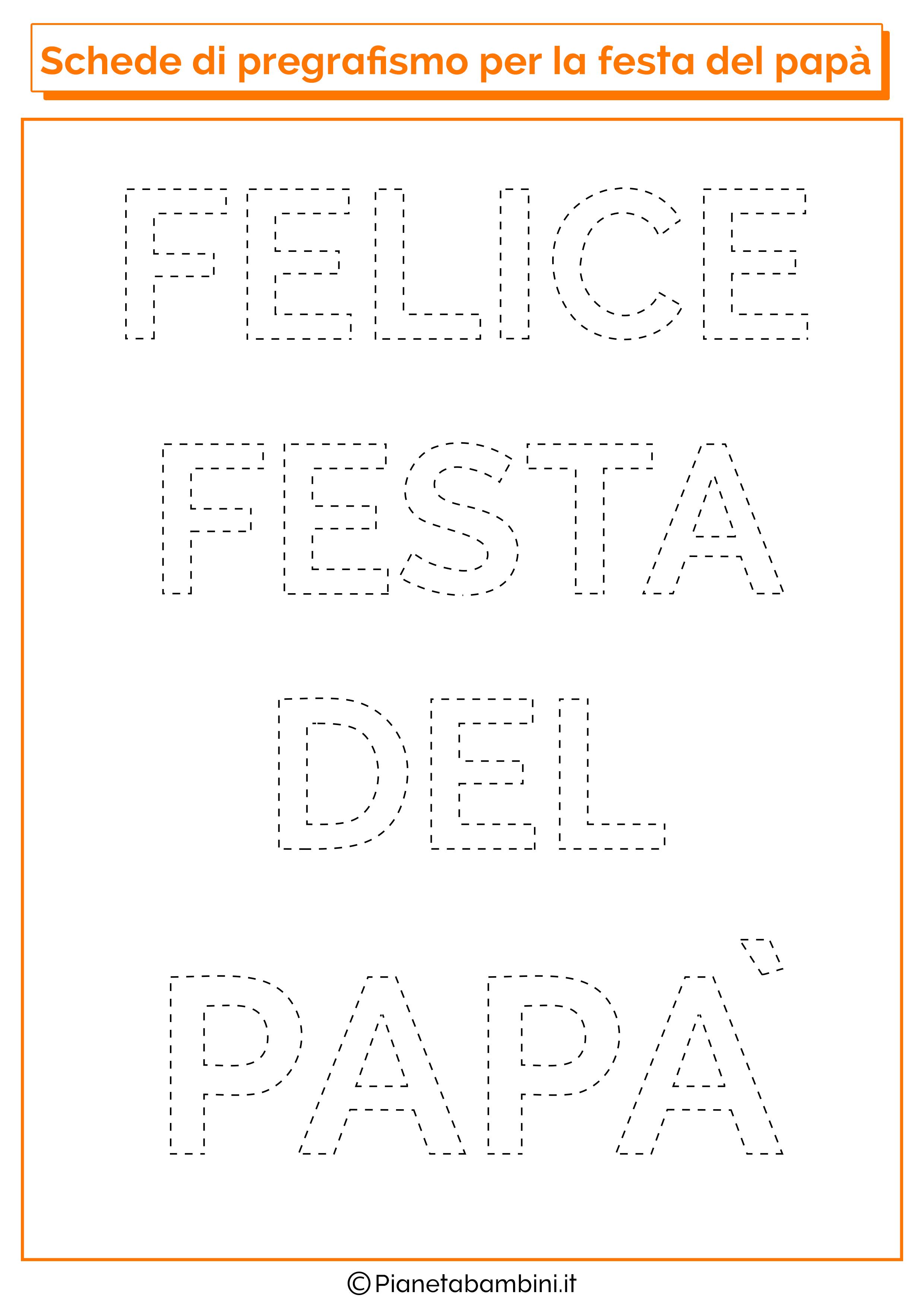 Scheda di pregrafismo con scritta felice festa del papà