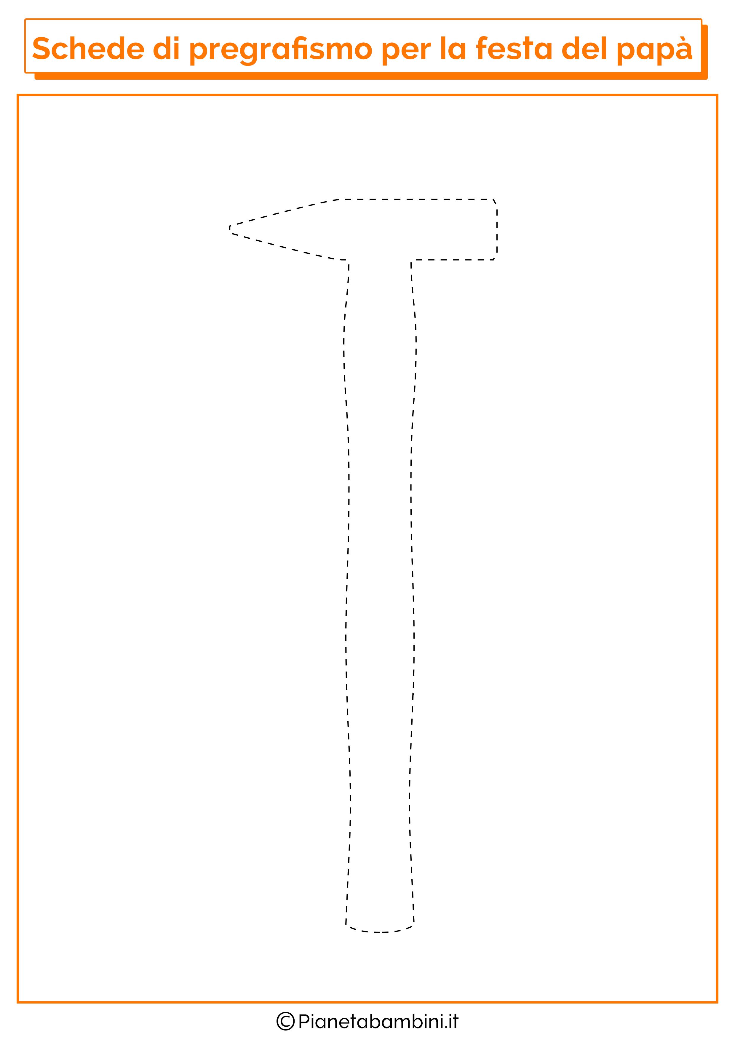 Scheda di pregrafismo sul martello per la festa del papà