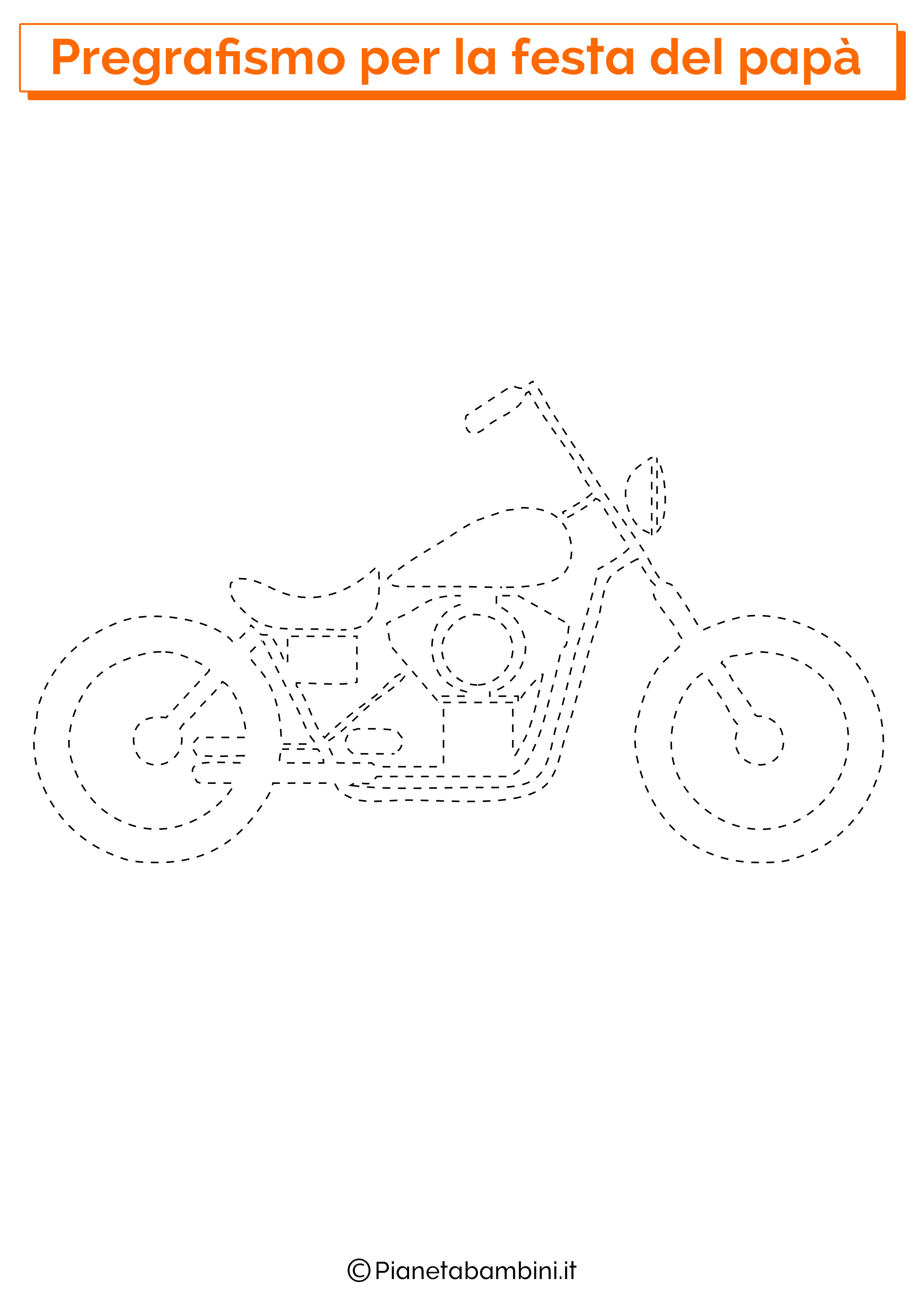 Scheda di pregrafismo sulla moto per la festa del papà