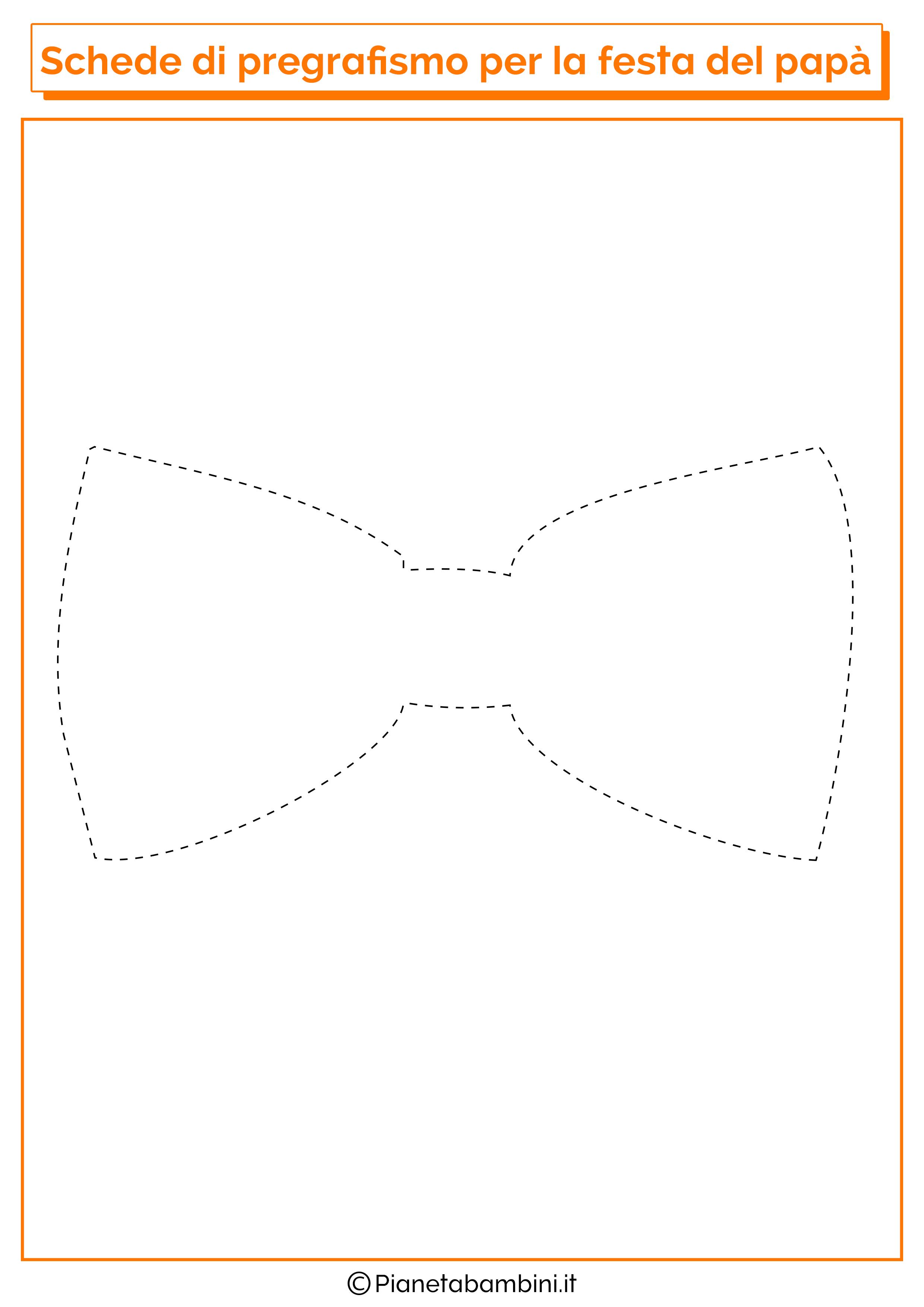 Scheda di pregrafismo sul papillon per la festa del papà