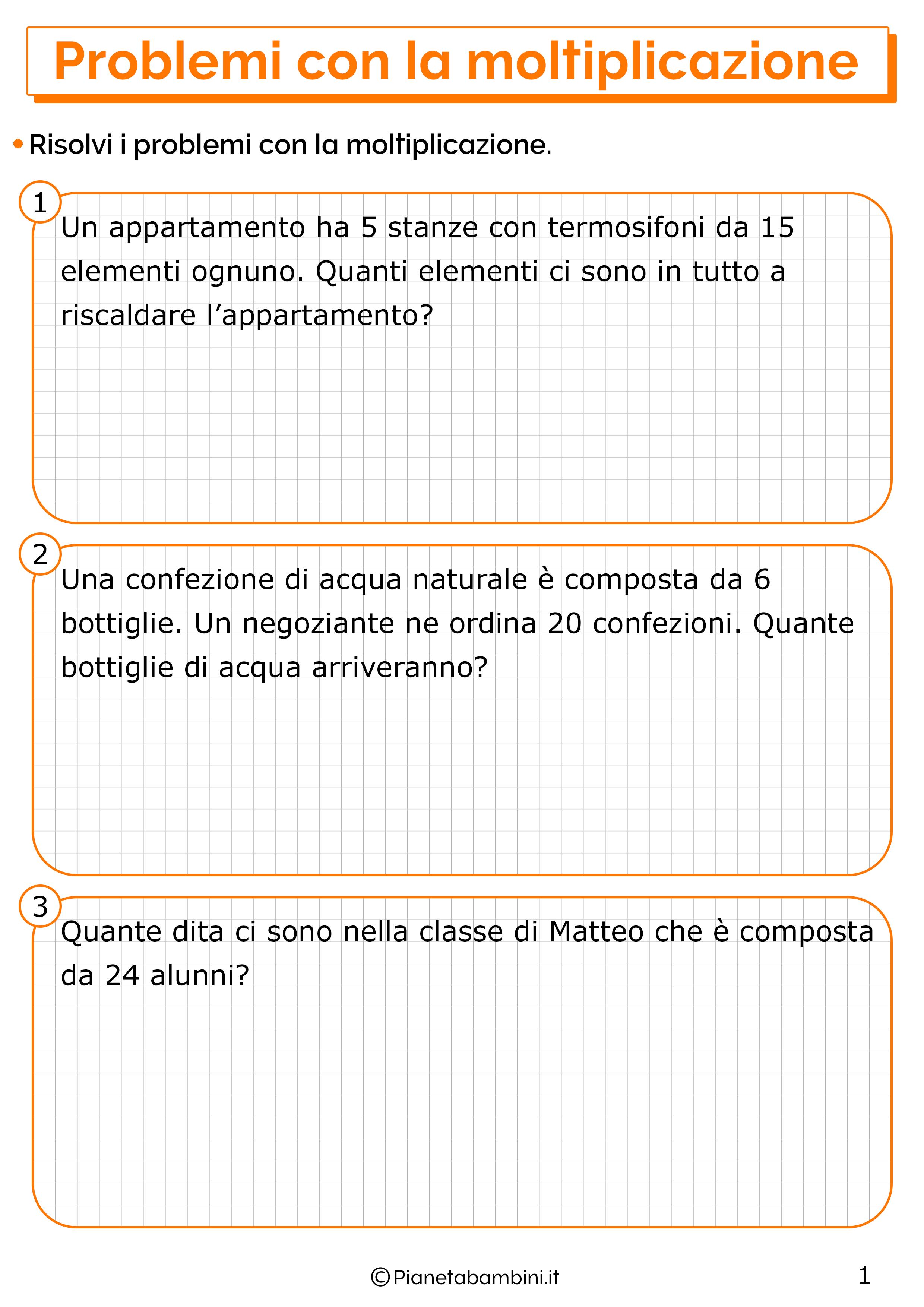 Problemi con la moltiplicazione per la classe seconda 1