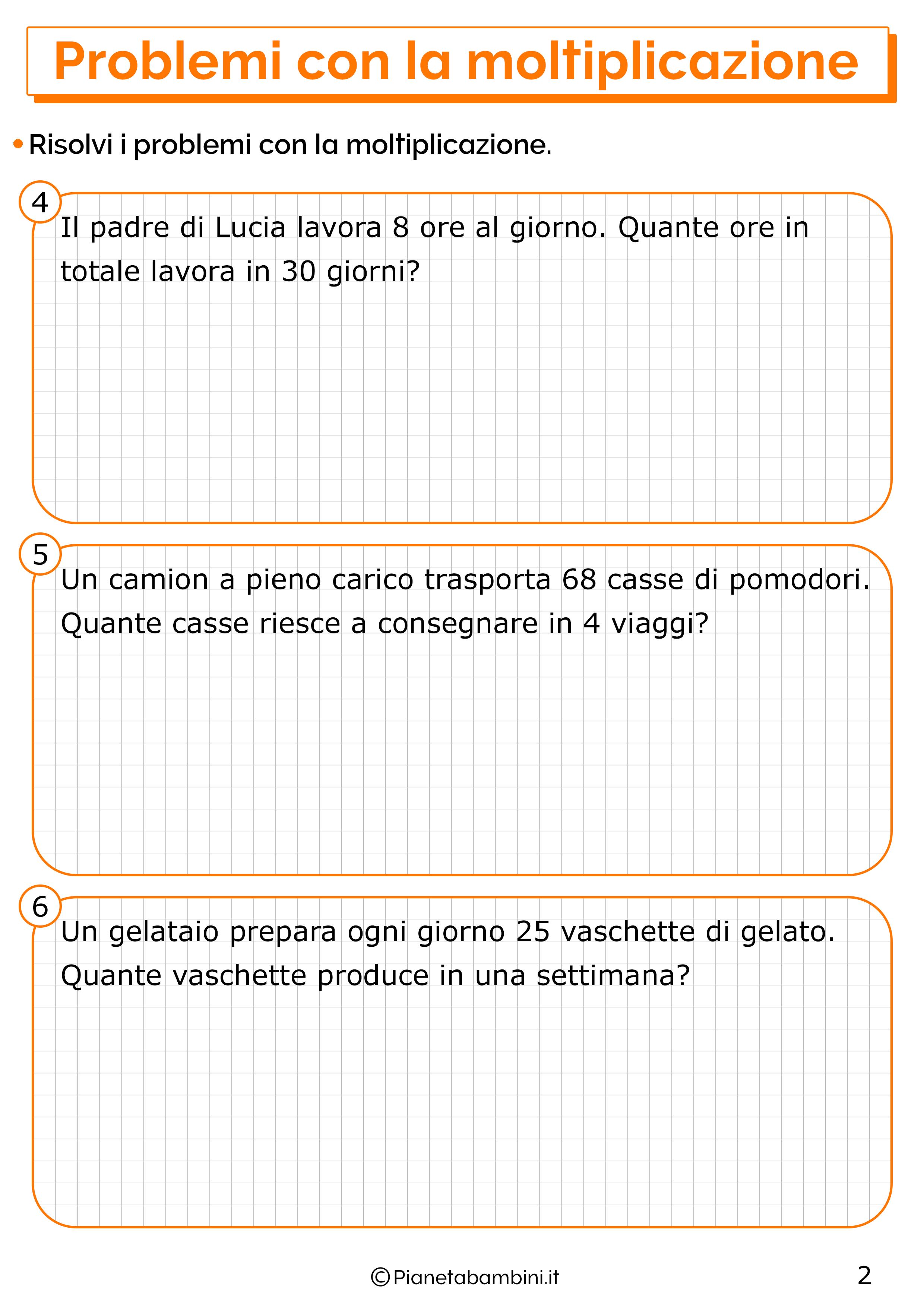 Problemi con la moltiplicazione per la classe seconda 2