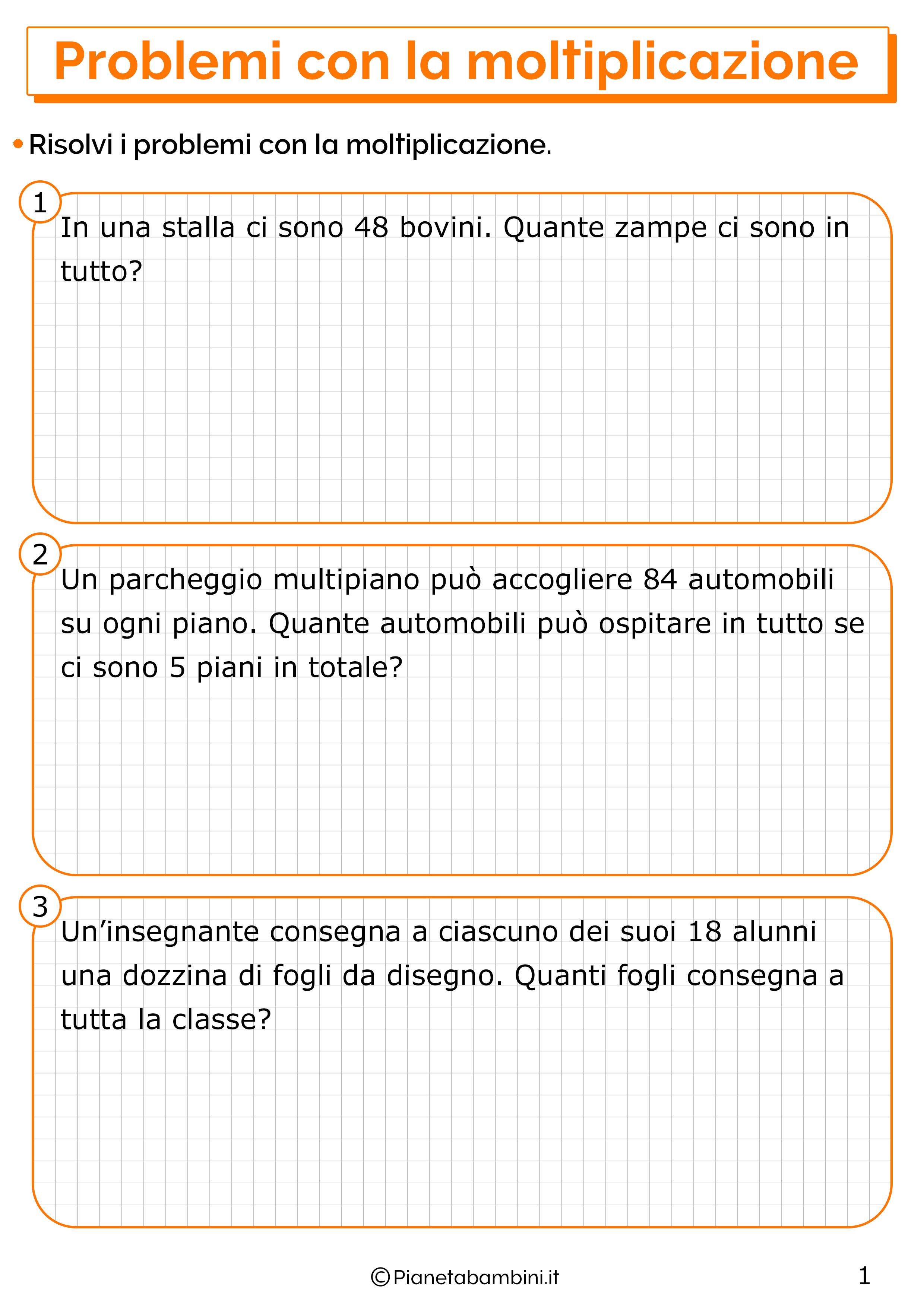 Problemi con la moltiplicazione per la classe terza 1