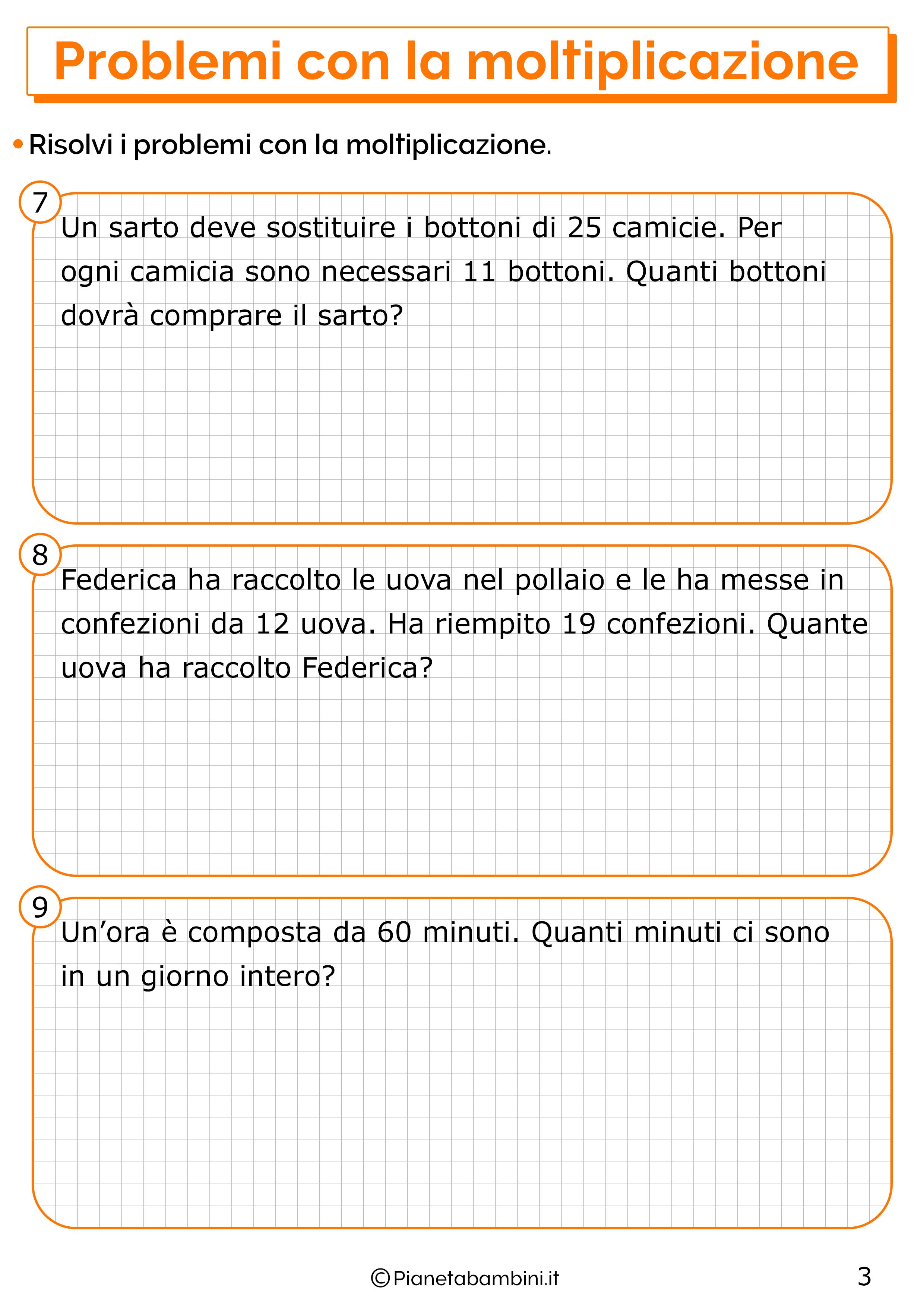 Problemi con la moltiplicazione per la classe terza 3