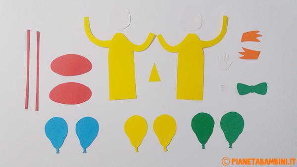 Sagome per la creazione del pagliaccio con palloncini e cartoncino