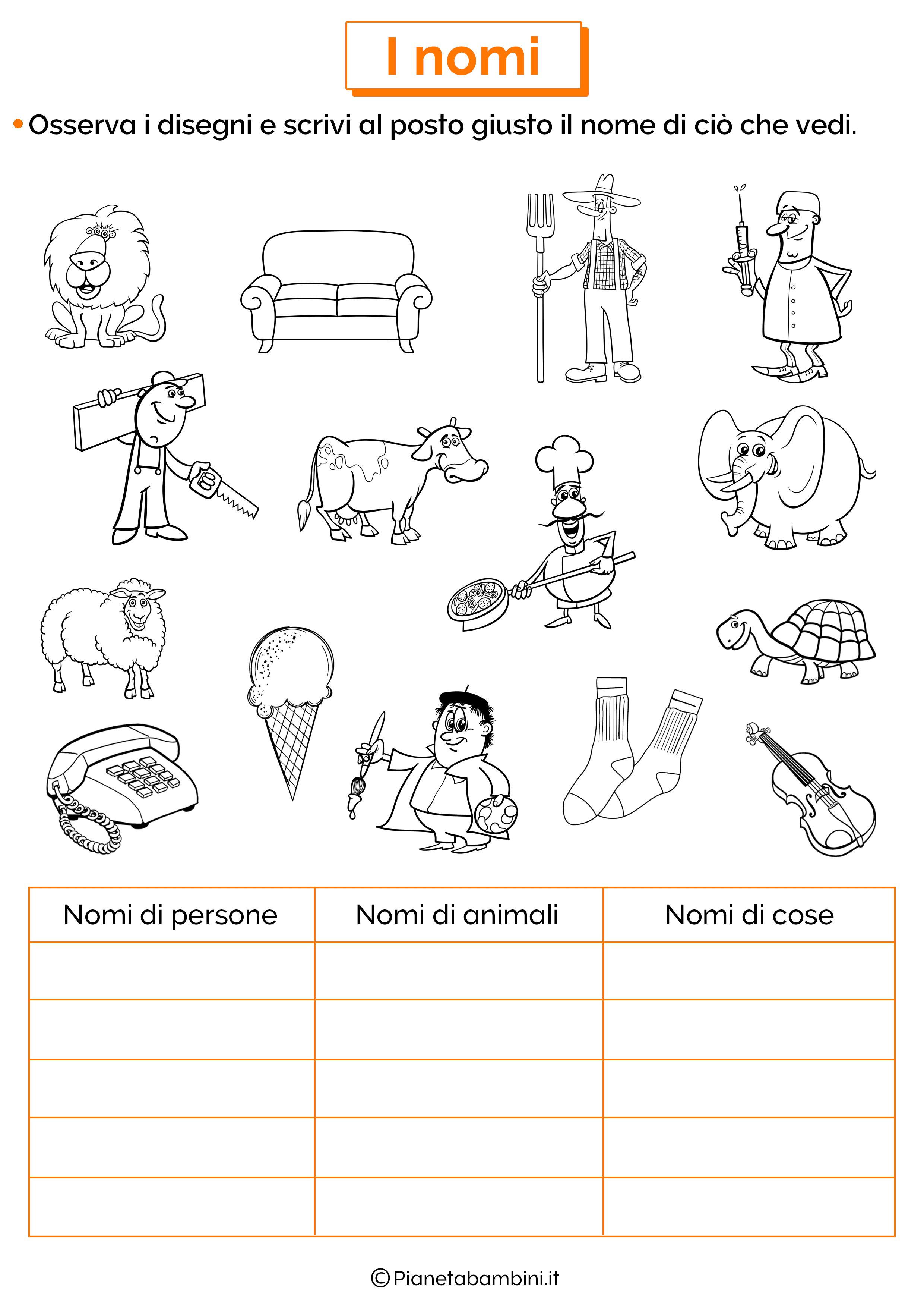 Scheda didattica sui nomi di persone, animali e cose