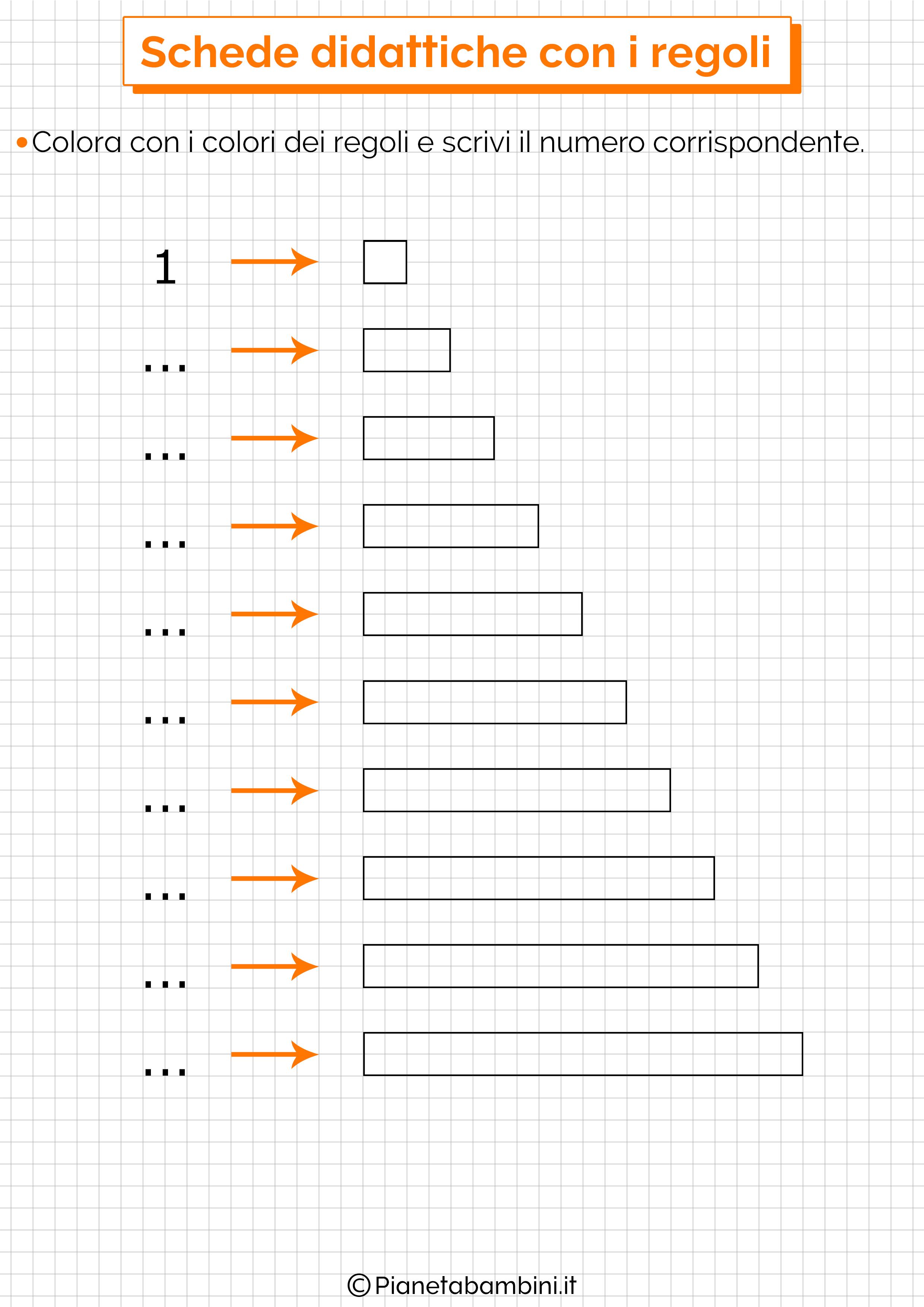 I regoli schede didattiche per la scuola primaria - Colore per numeri per i bambini ...