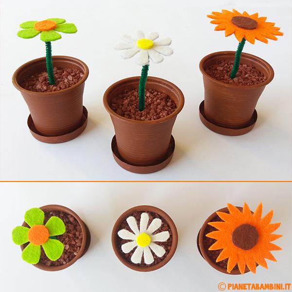 Procedimento per creare i fiori di feltro in vasetti di plastica