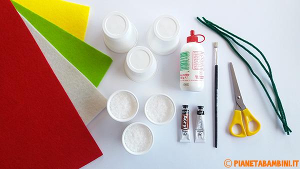 Occorrente per realizzare dei fiori di feltro in vasetti di plastica