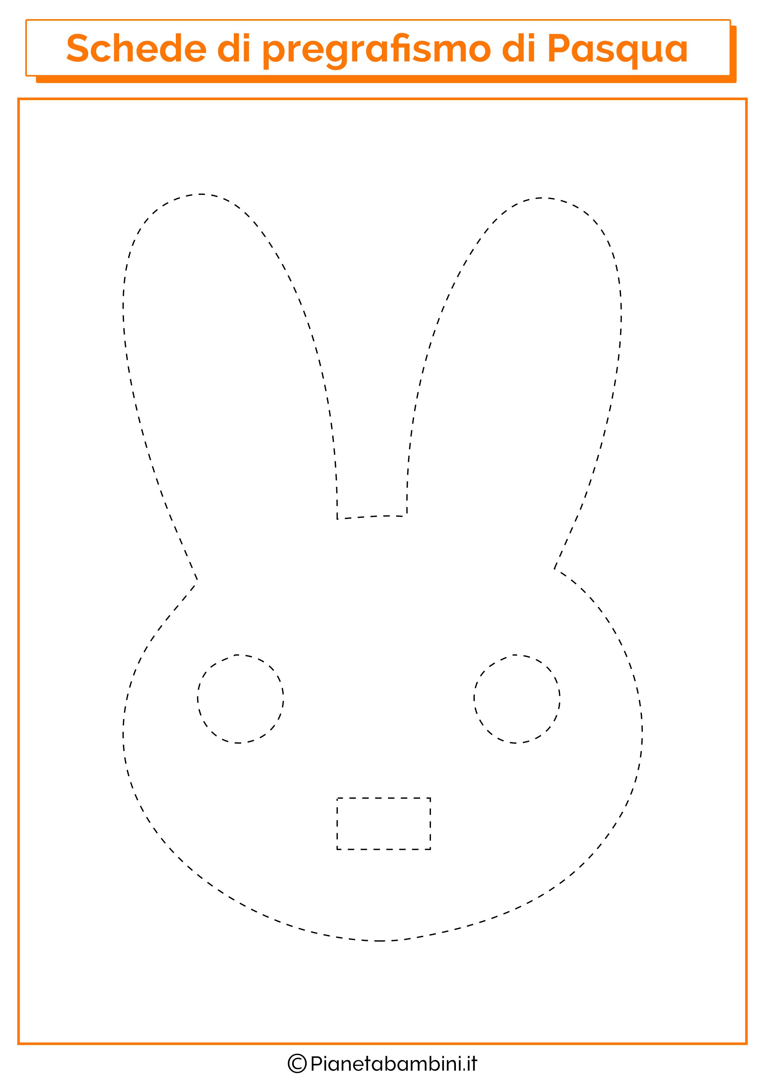 Scheda di pregrafismo di Pasqua sul coniglietto