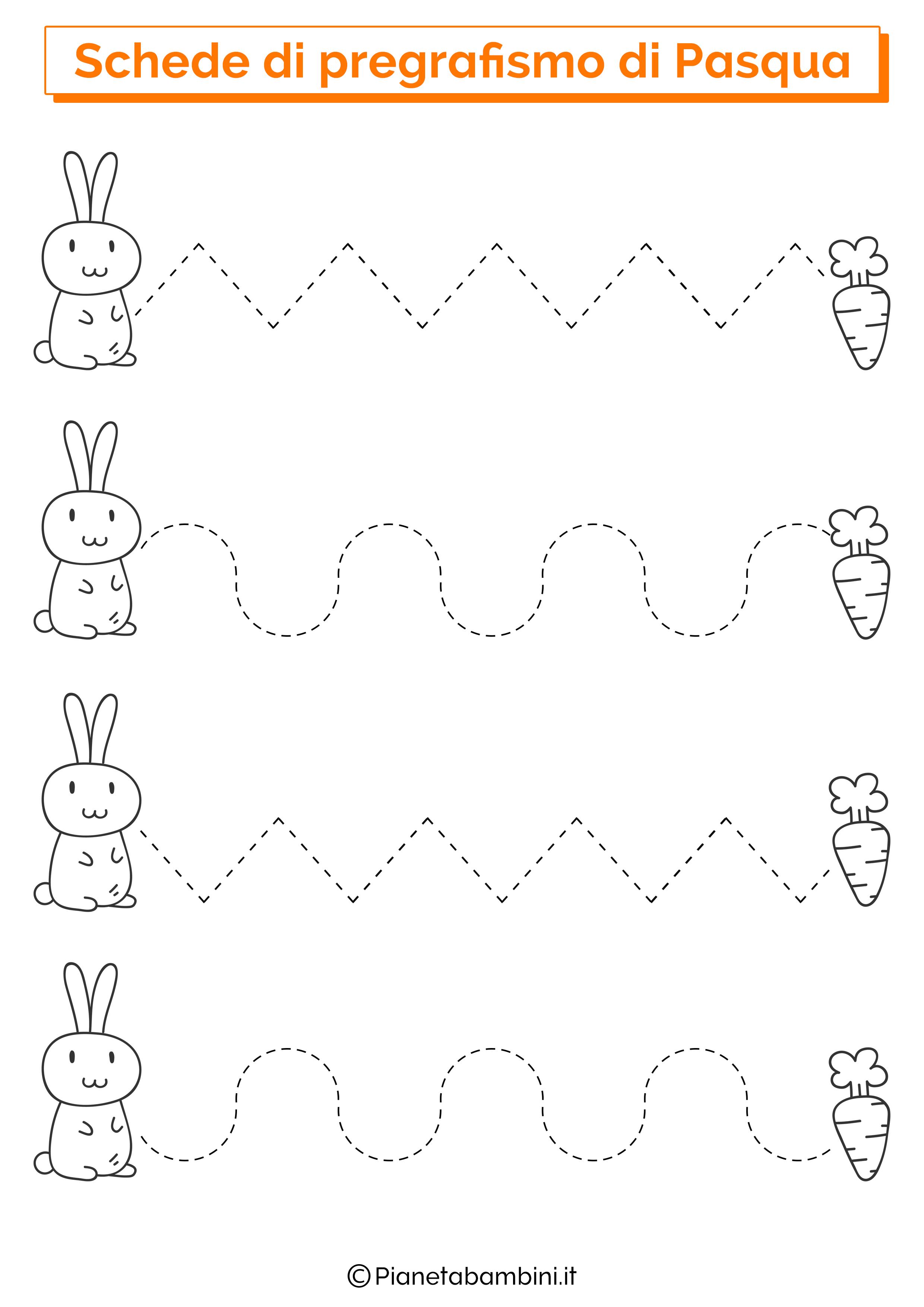 Scheda di pregrafismo di Pasqua su linee orizzontali 1