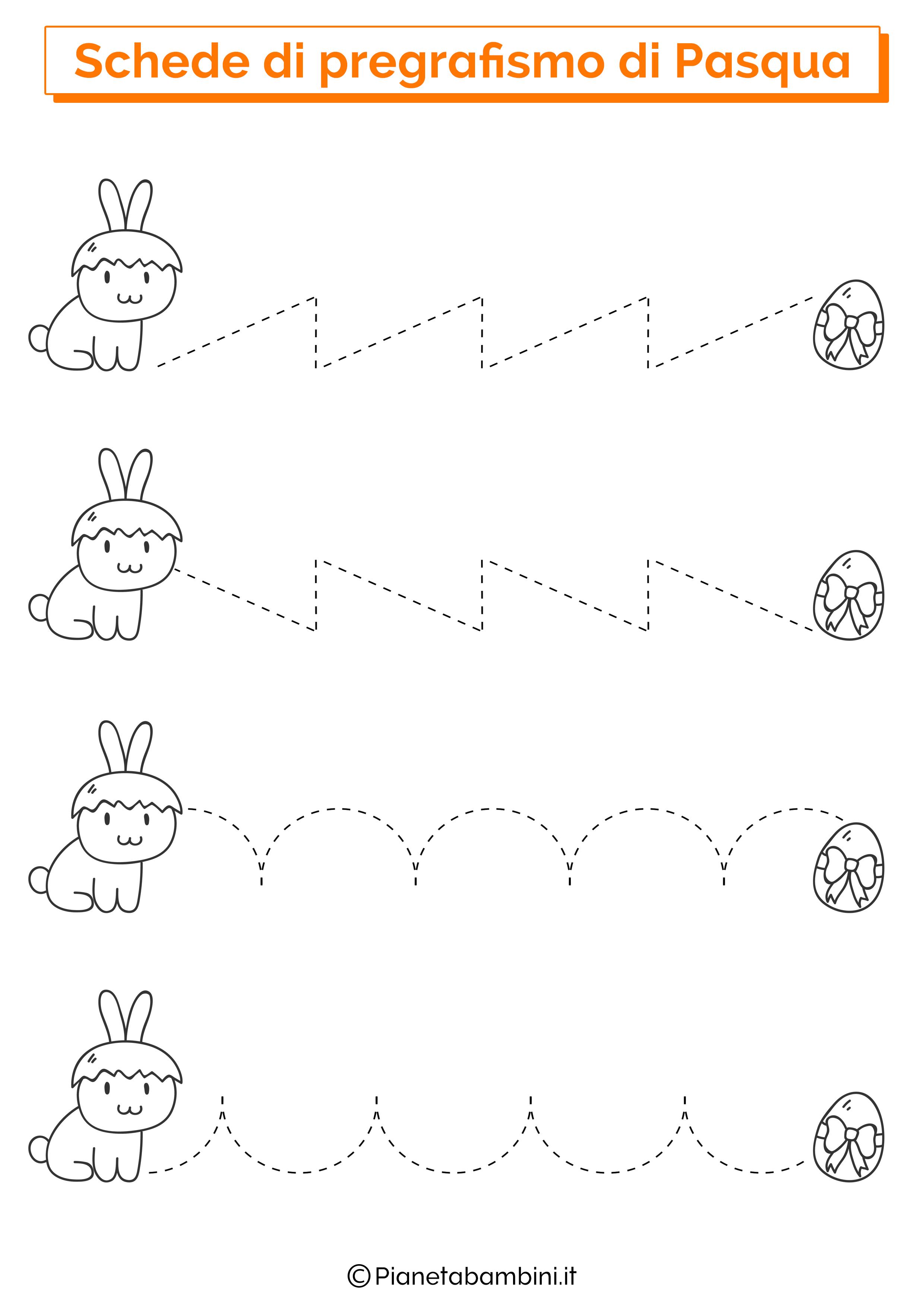 Scheda di pregrafismo di Pasqua su linee orizzontali 2