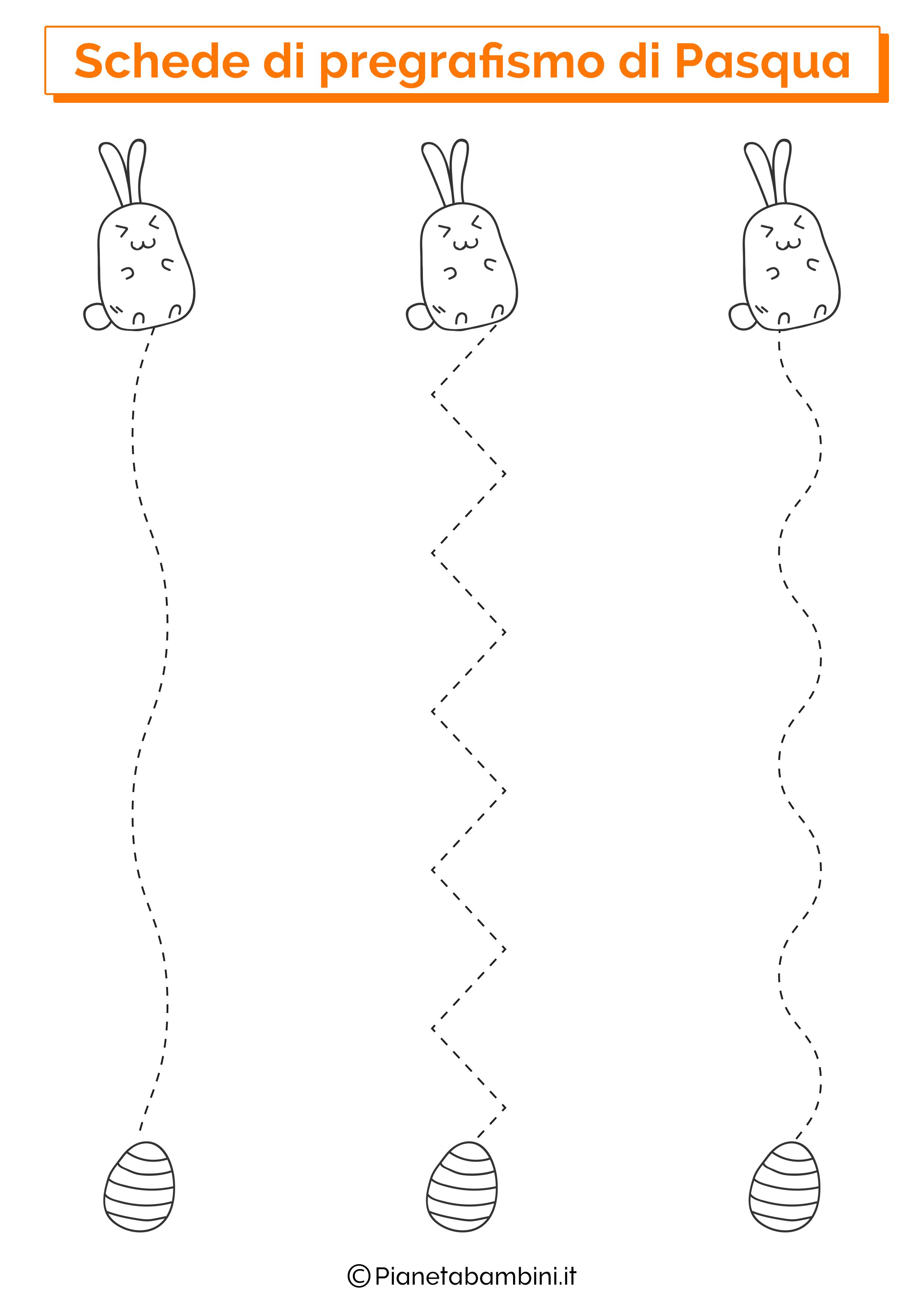 Scheda di pregrafismo di Pasqua su linee verticali 1