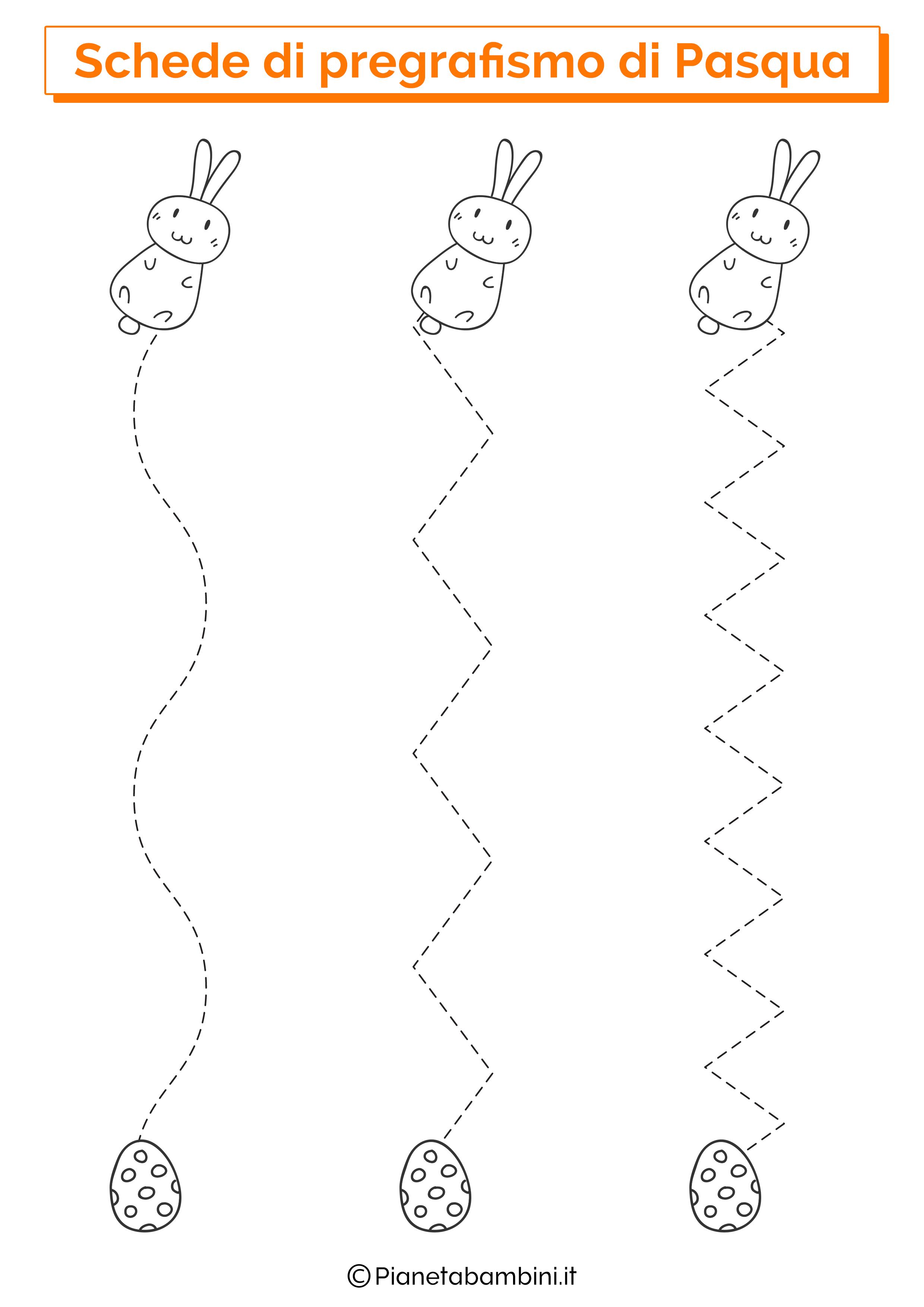 Scheda di pregrafismo di Pasqua su linee verticali 2