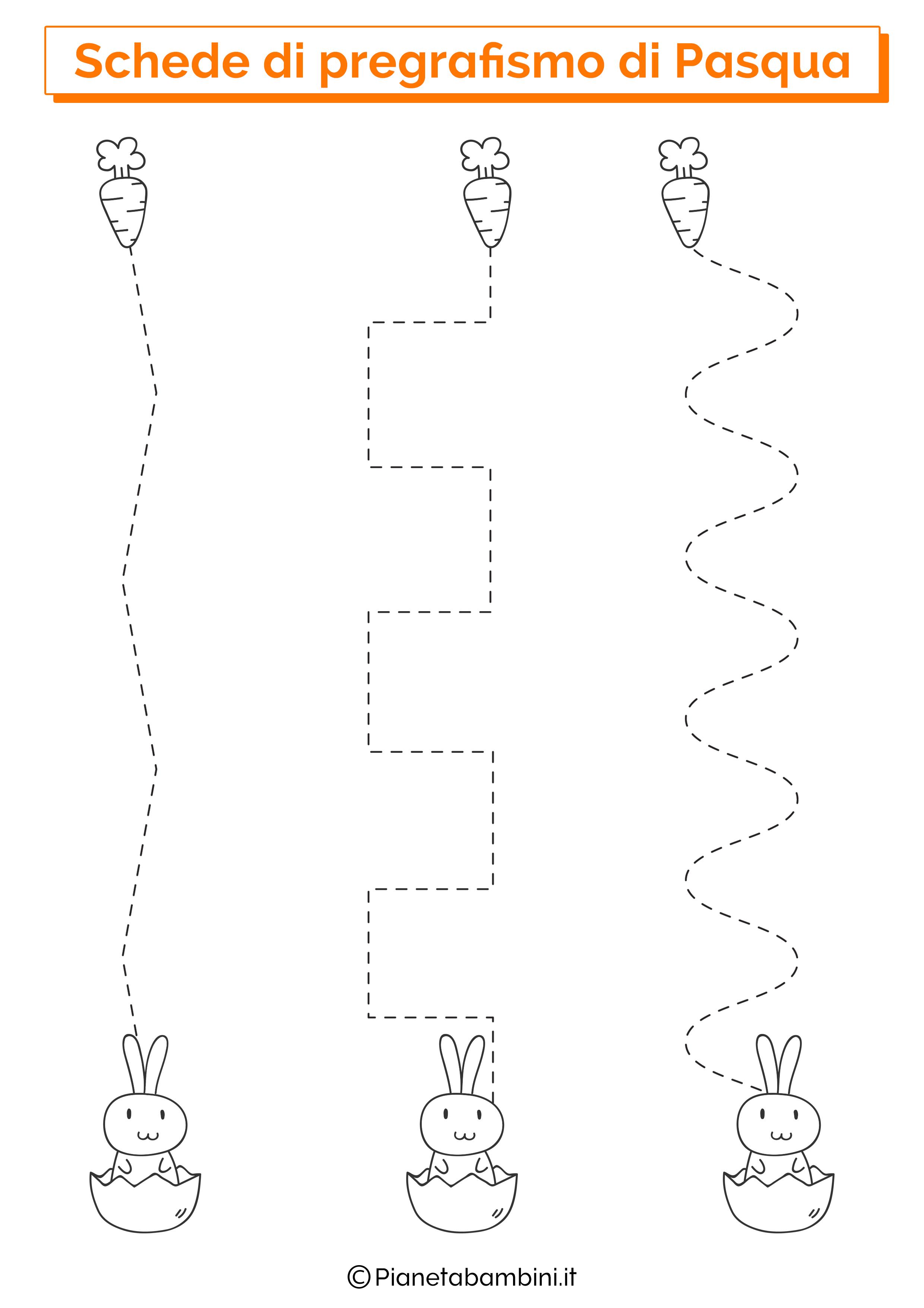 Scheda di pregrafismo di Pasqua su linee verticali 3