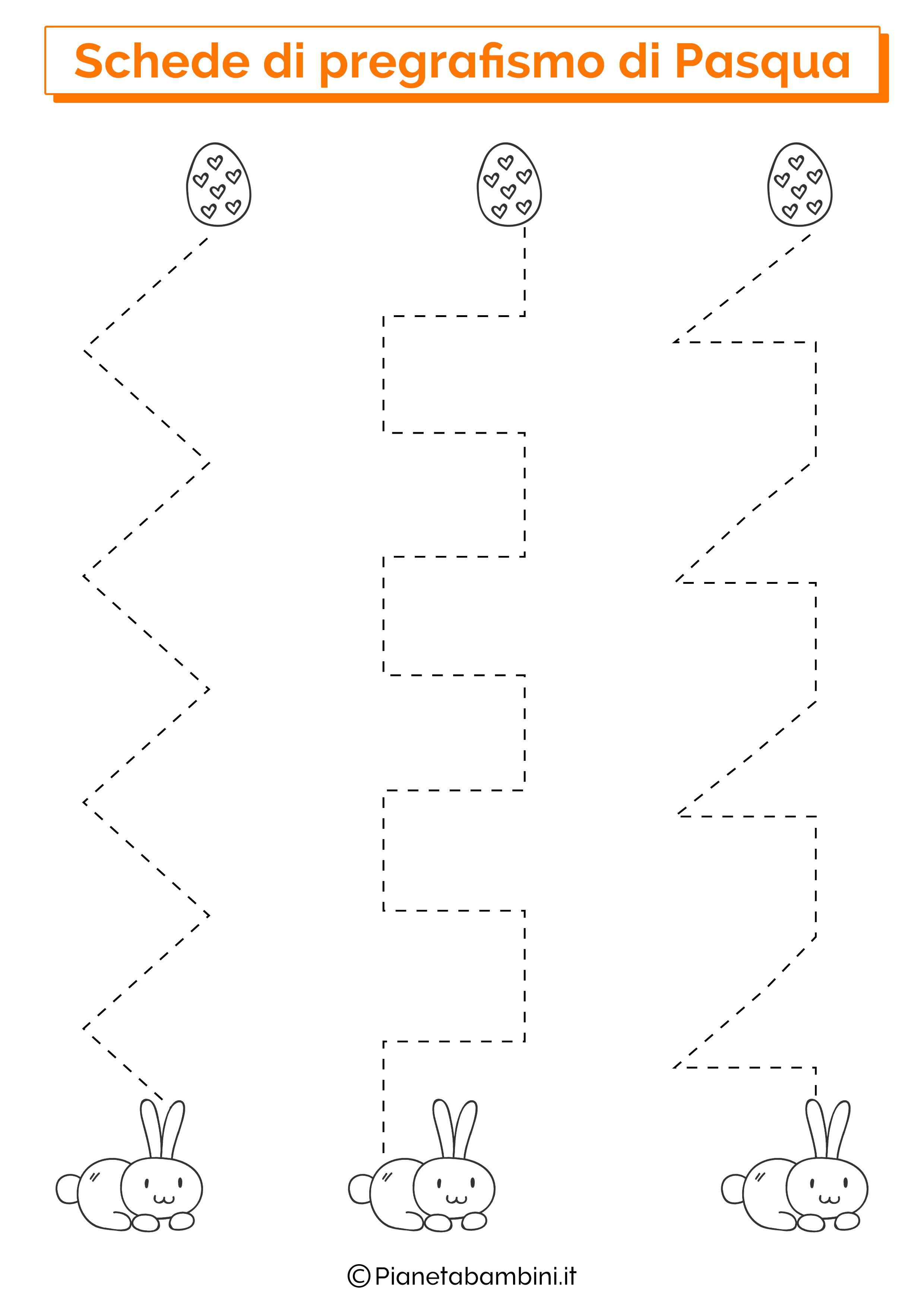Scheda di pregrafismo di Pasqua su linee verticali 4