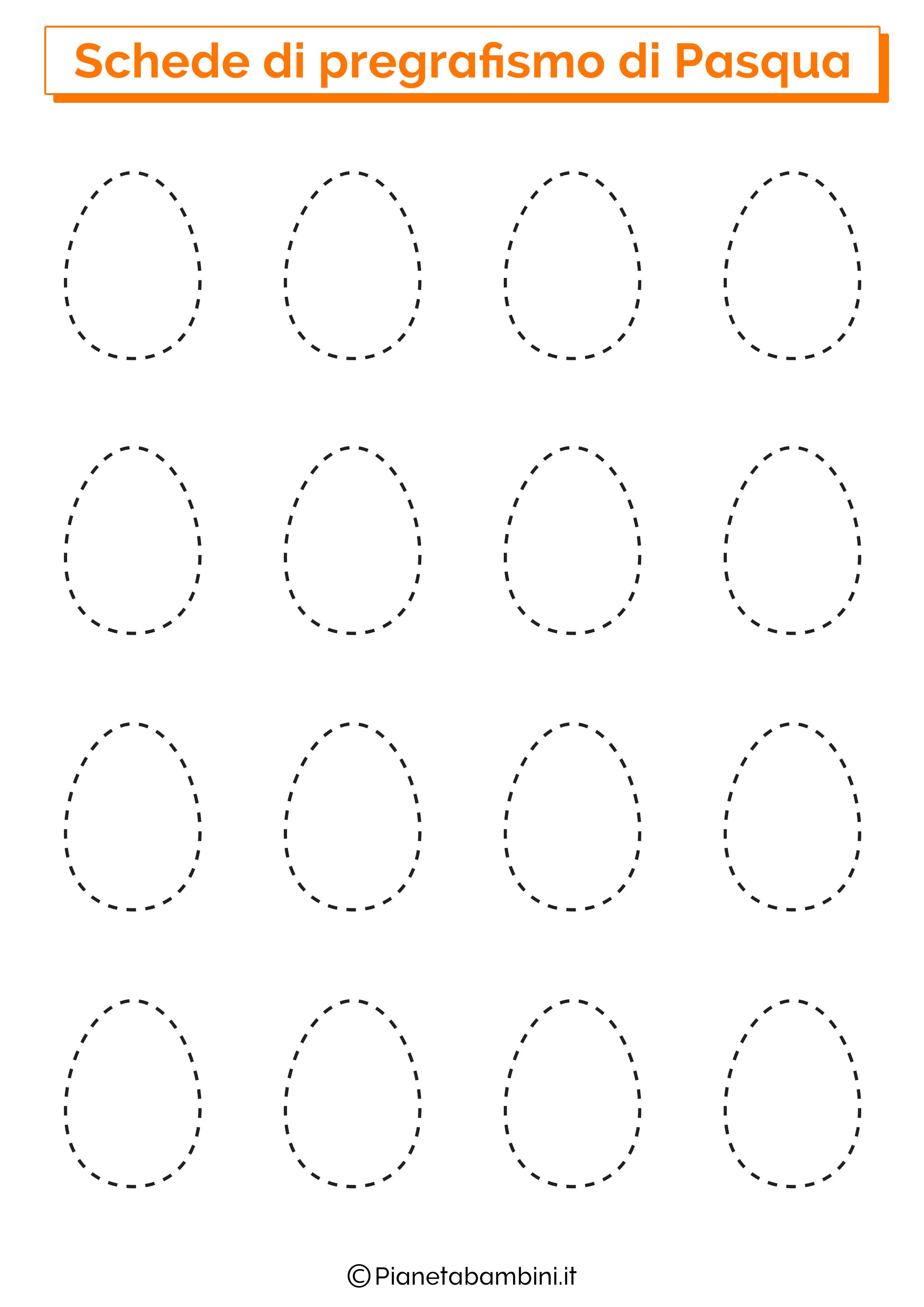 Scheda di pregrafismo di Pasqua sulle uova