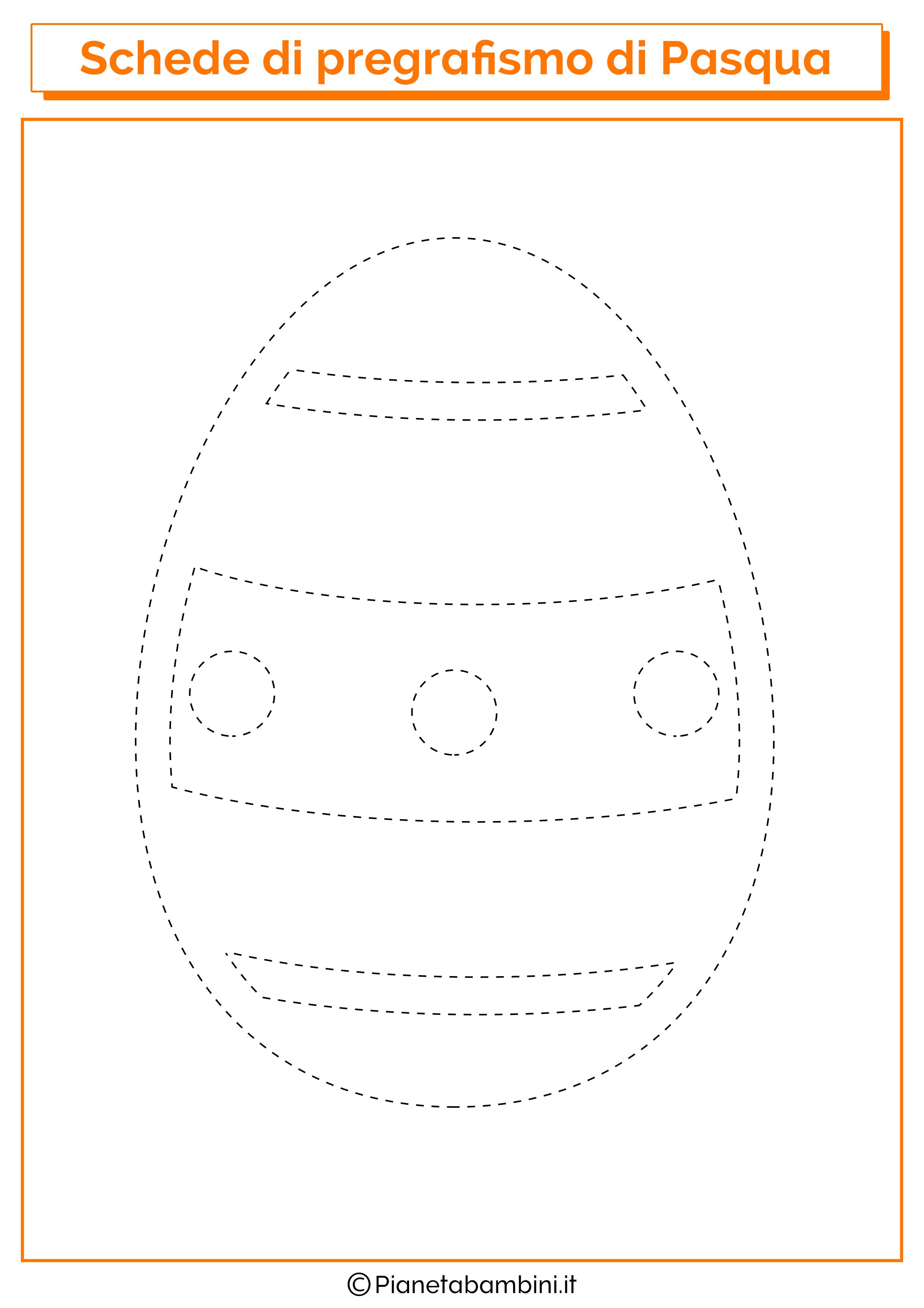 Scheda di pregrafismo sull'uovo di Pasqua