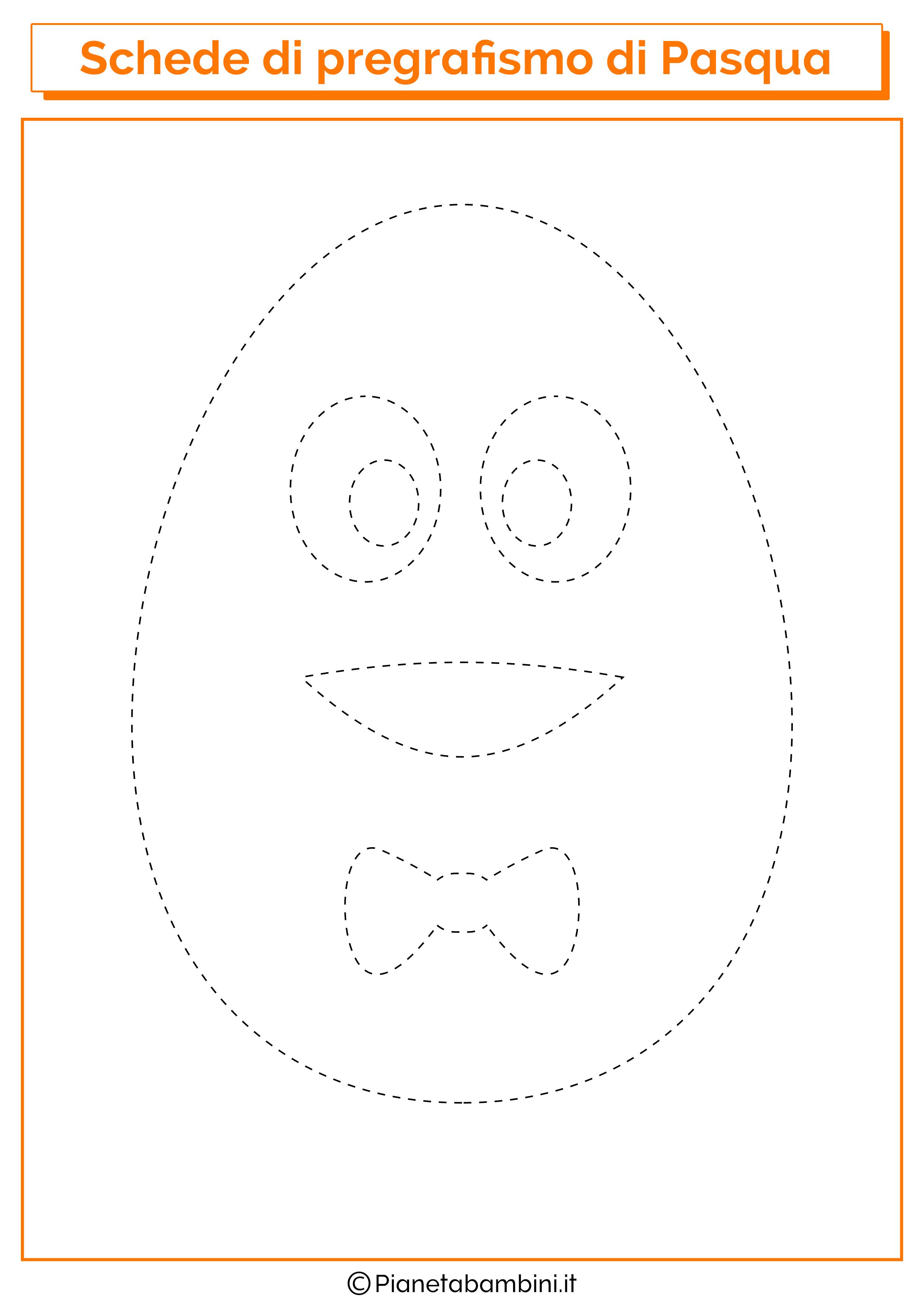 Scheda di pregrafismo di Pasqua sull'uovo con viso