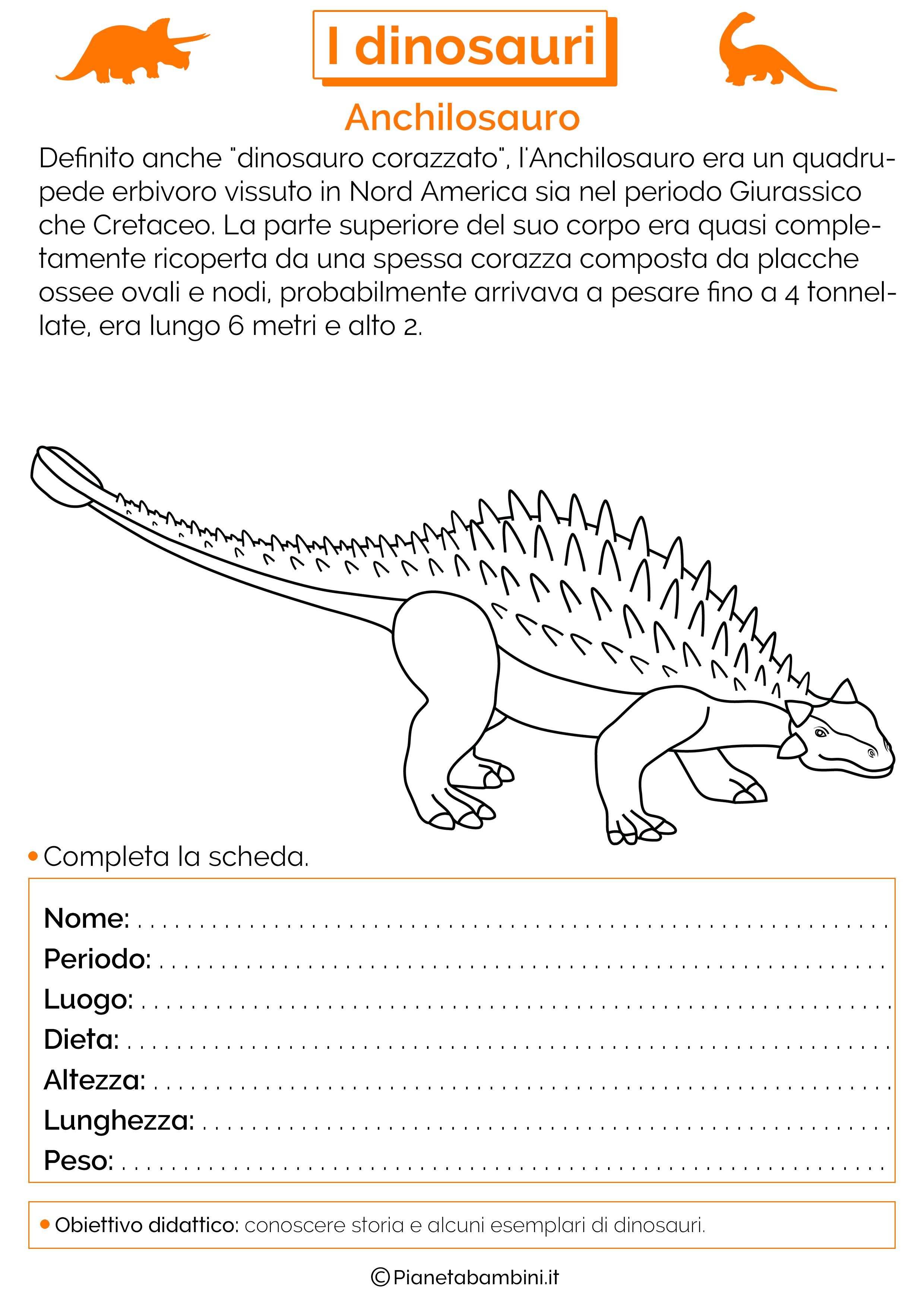 I dinosauri schede didattiche per la scuola primaria