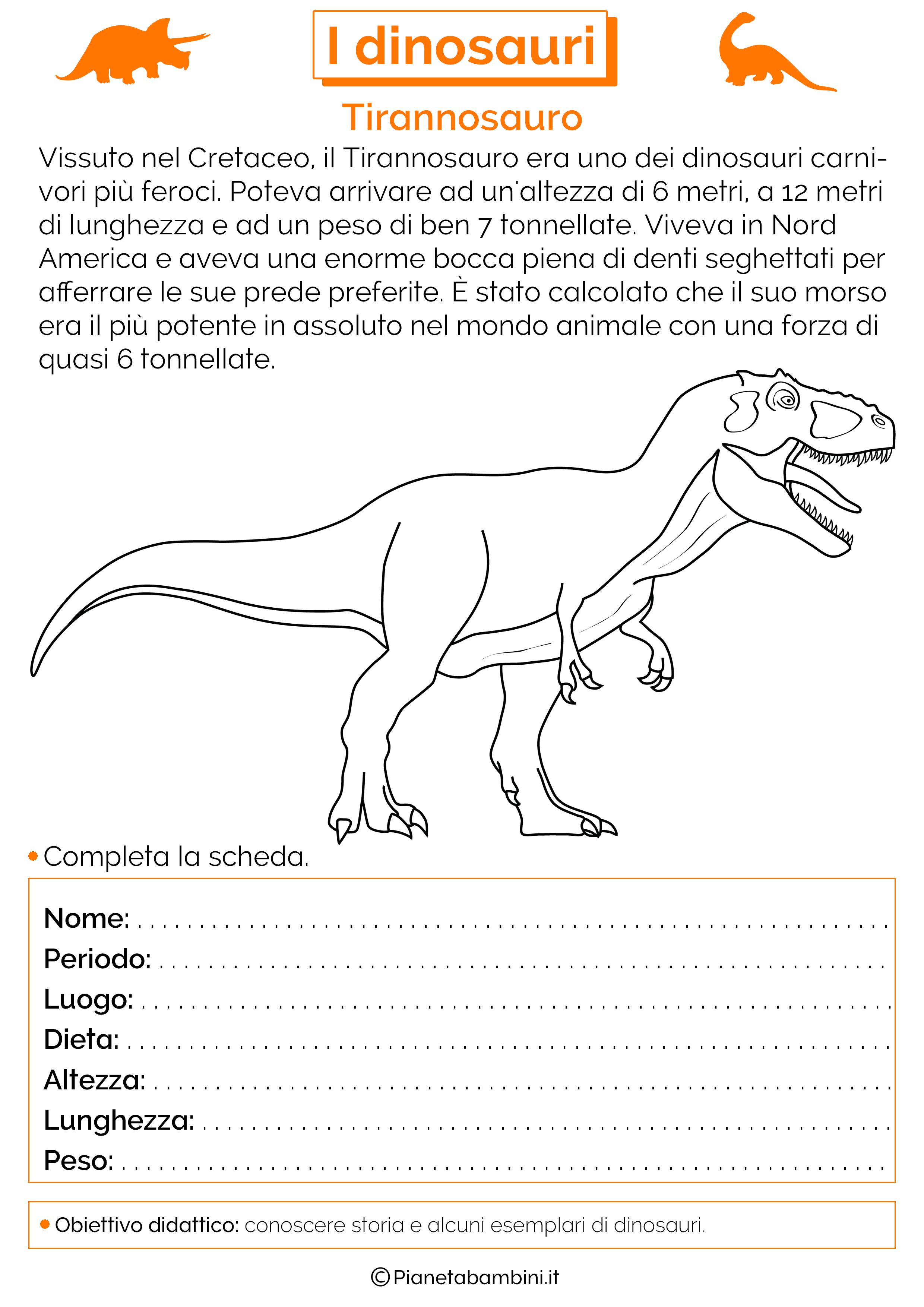 Esercizi sui dinosauri 10