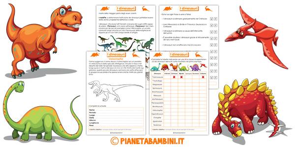 Schede didattiche sui dinosauri per la classe terza della scuola primaria da stampare gratis