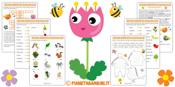 Schede didattiche sulla primavera da stampare gratis per bambini della scuola primaria