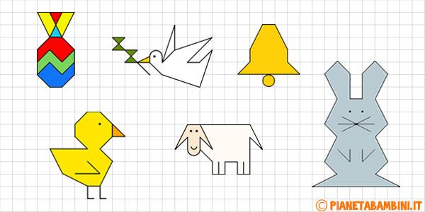Cornicette di Pasqua a quadretti per bambini da disegnare e colorare