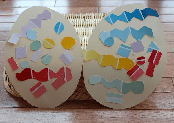 Lavoretto di Pasqua per bambini dell'asilo nido: uova di Pasqua decorate con ritagli di cartoncino