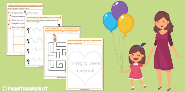 Schede didattiche da stampare gratis sulla festa della mamma per bambini della scuola dell'infanzia