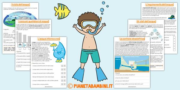 Schede didattiche sull'acqua da stampare gratis per la scuola primaria
